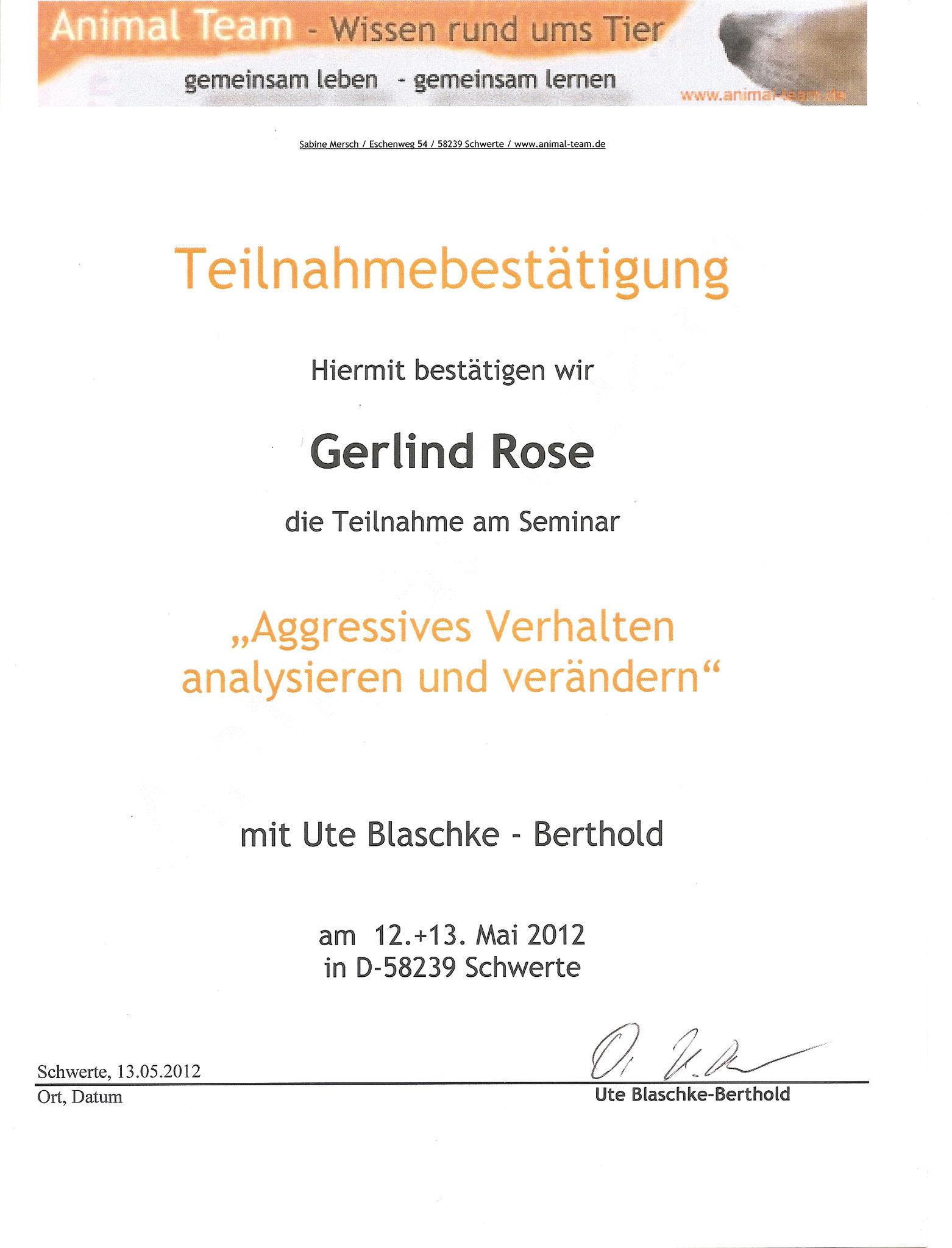 Aggressives Verhalten analysieren und verändern - Dr. U. Blaschke-Berthold