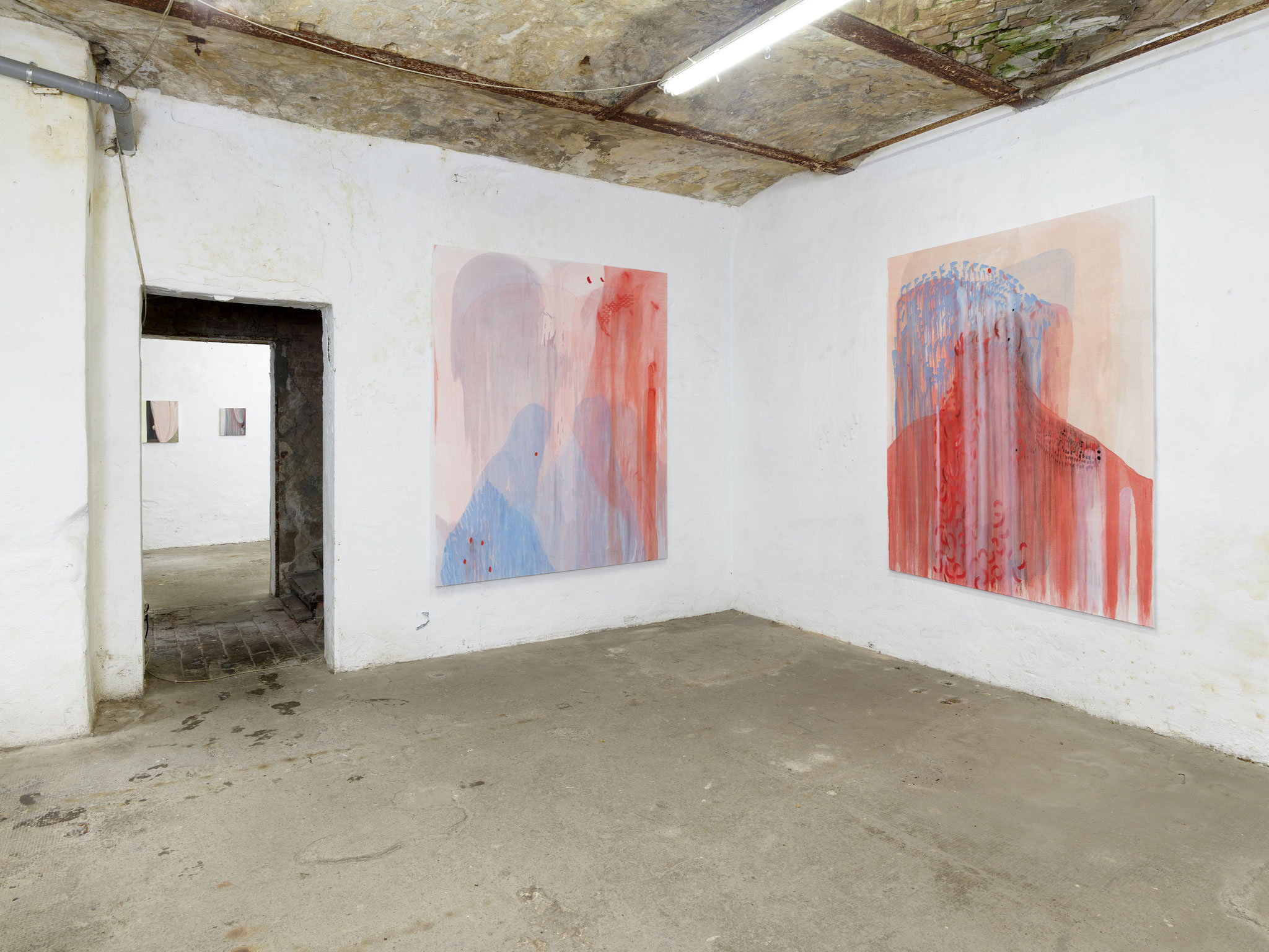 Exhibition 'A Matter of Touch' at Torstrasse Berlin. Curated by Jurriaan Benschop. Adrienne Elyse Meyers (paintings left) I Rubica von Streng (paintings right) CLOSENESS and MUSING / Photo: Eric Tschernow