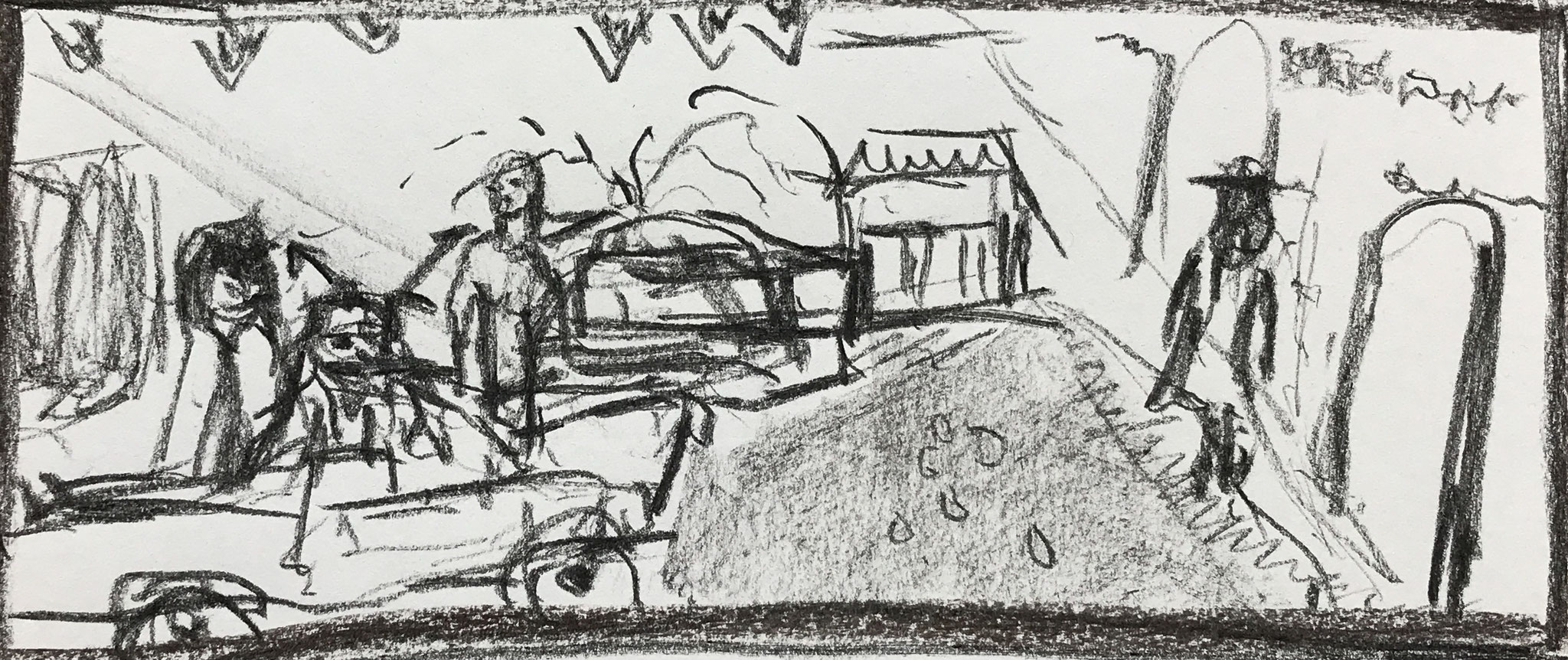 STORYBOARDS (excerpt) AN END TO JEALOUSY,  2019, coal on paper, 40 cm x 40 cm