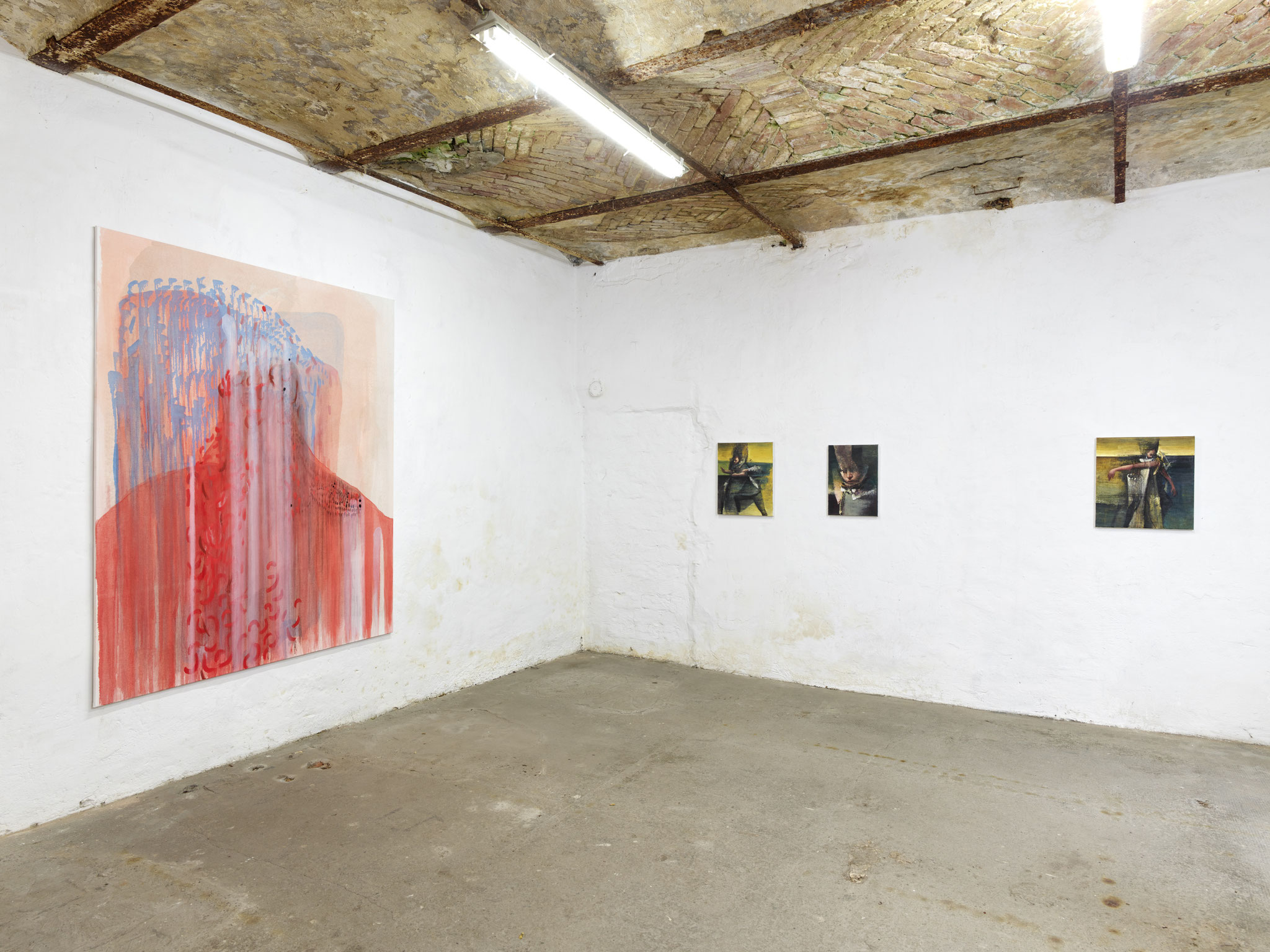 Exhibition 'A Matter of Touch' at Torstrasse Berlin. Curated by Jurriaan Benschop / Rubica von Streng (painting left) MUSING I Nikos Aslanidis (paintings right) / Photo: Eric Tschernow