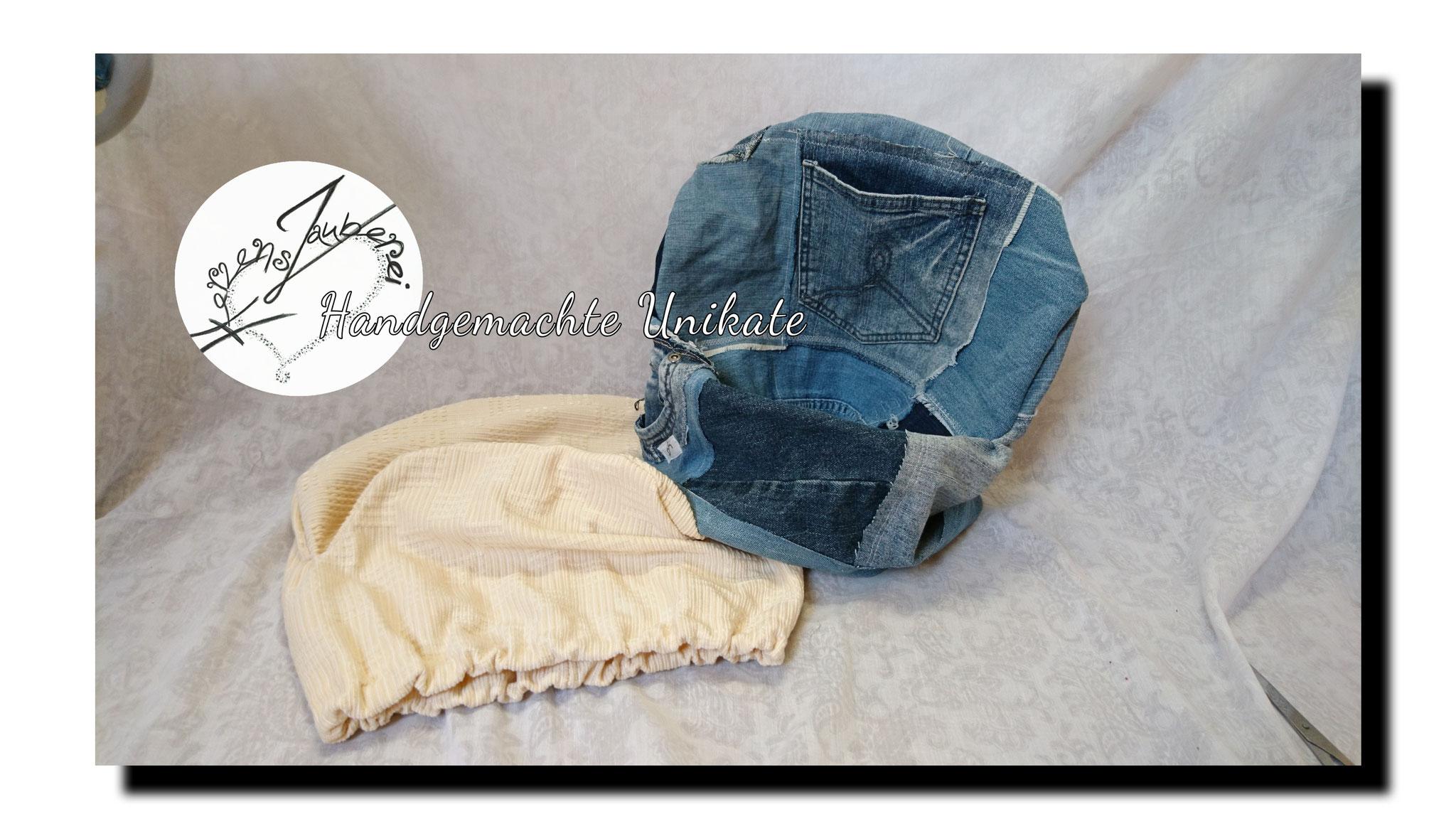 Sesselbezug, Patchwork aus alten Jeans, jeder Bezug ein Unikat, Preis: 40.-