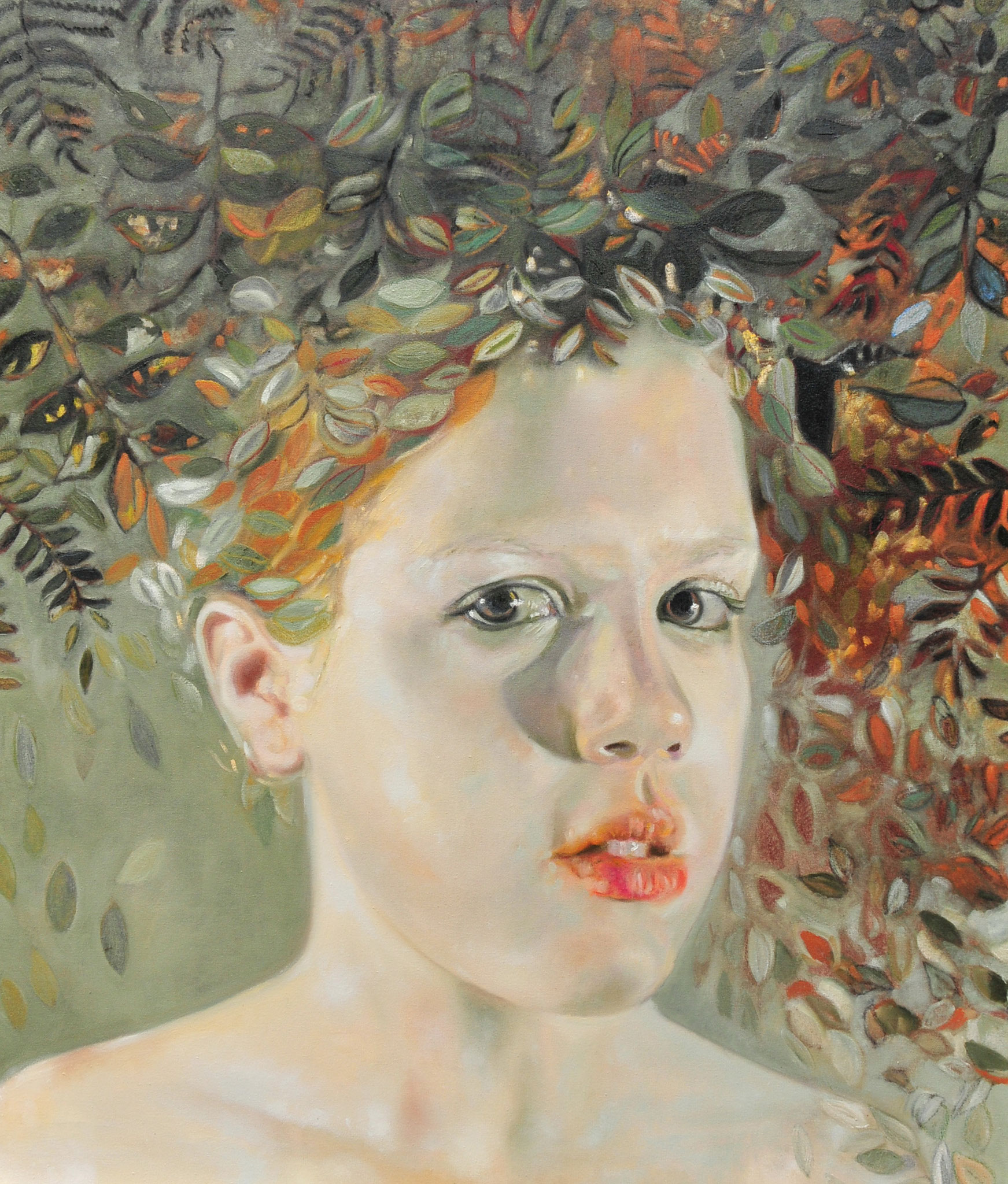 Portrait with leaves - Oil 140 cm x 120 cm 2016