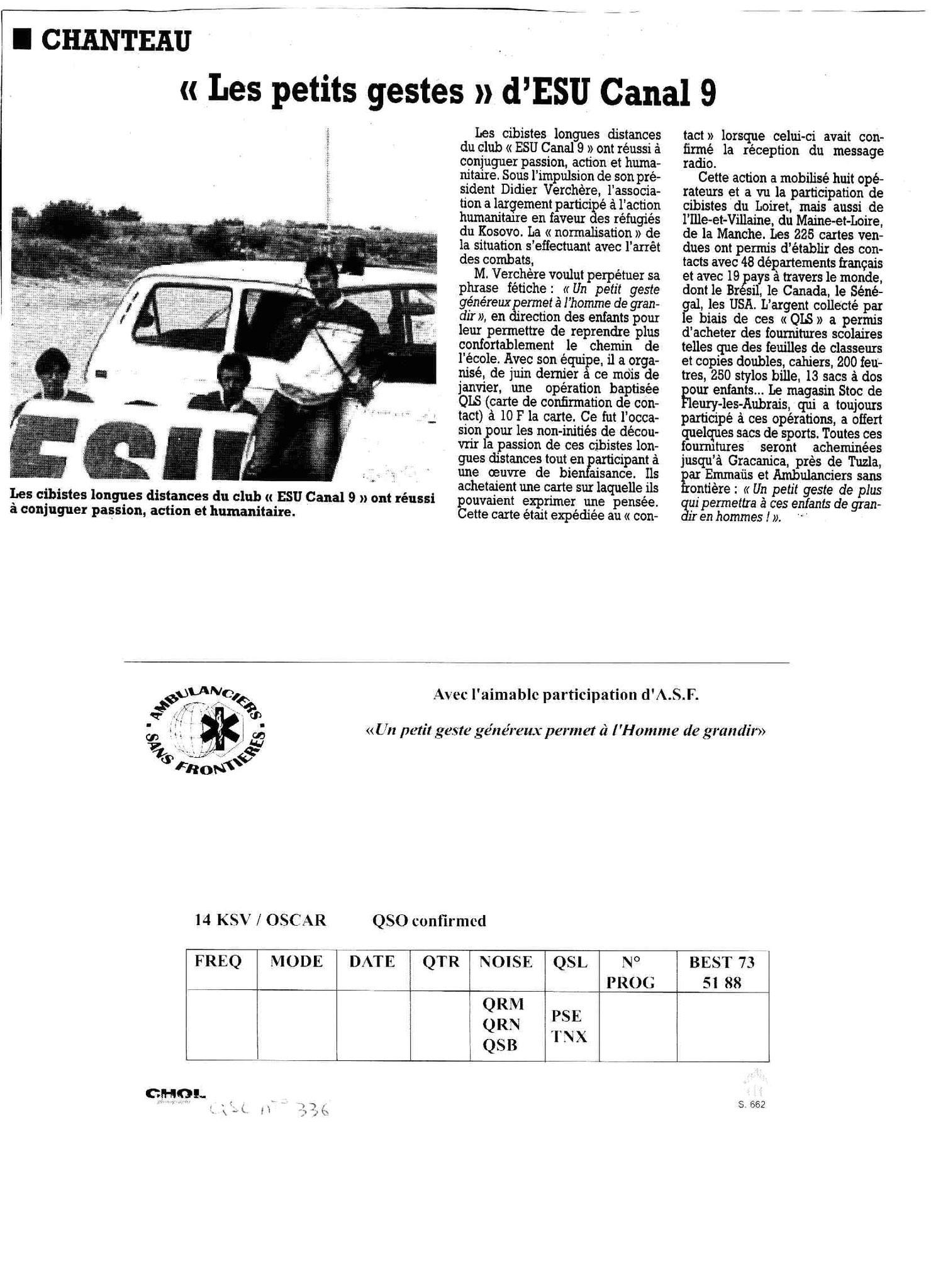 ARTICLE DANS LA PRESSE DX KOSOVO