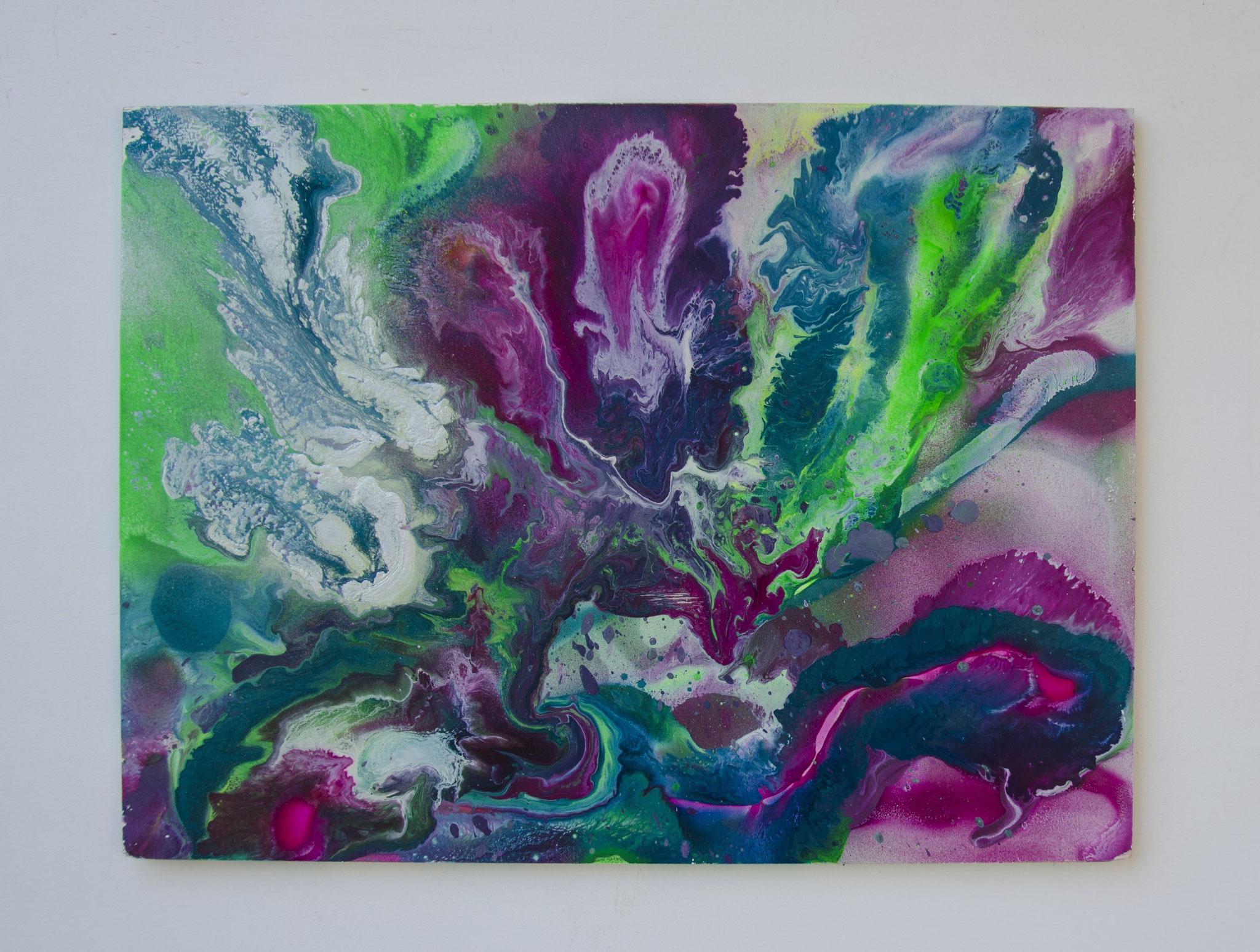 cloudcave Nr. 6,  Sprühlack auf Holzplatte, 20 x 40  cm, 2016