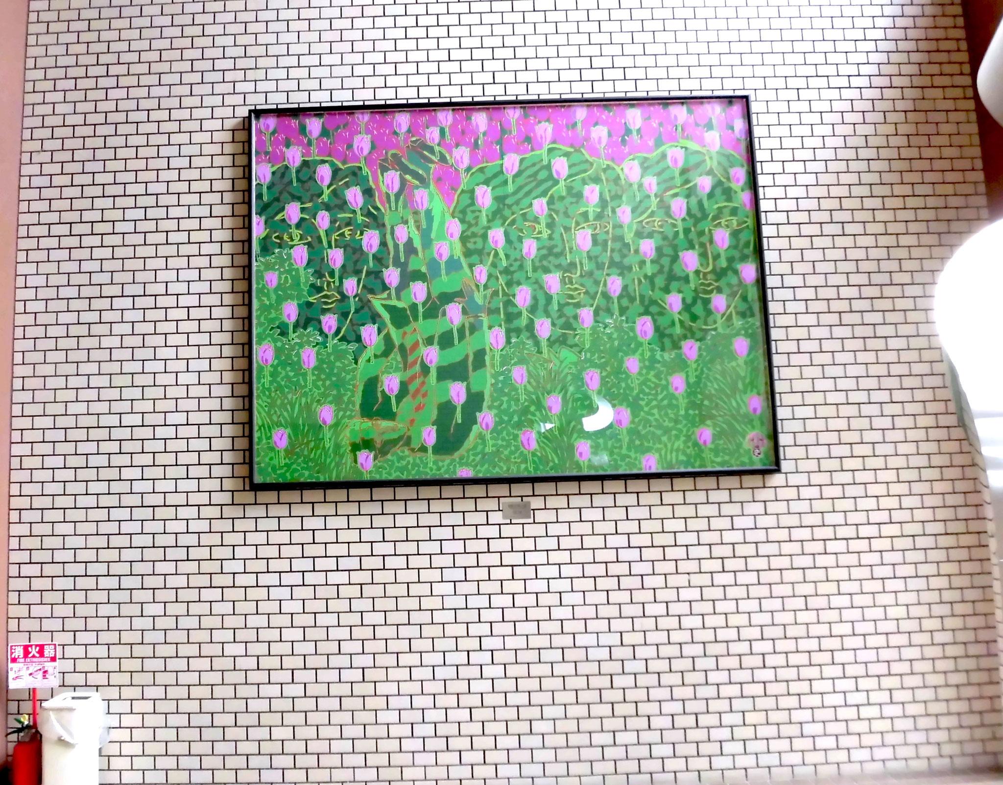 「樹陰彩風の図 」H194×W259 cm  油彩  2008年作  中原史雄 二科会理事