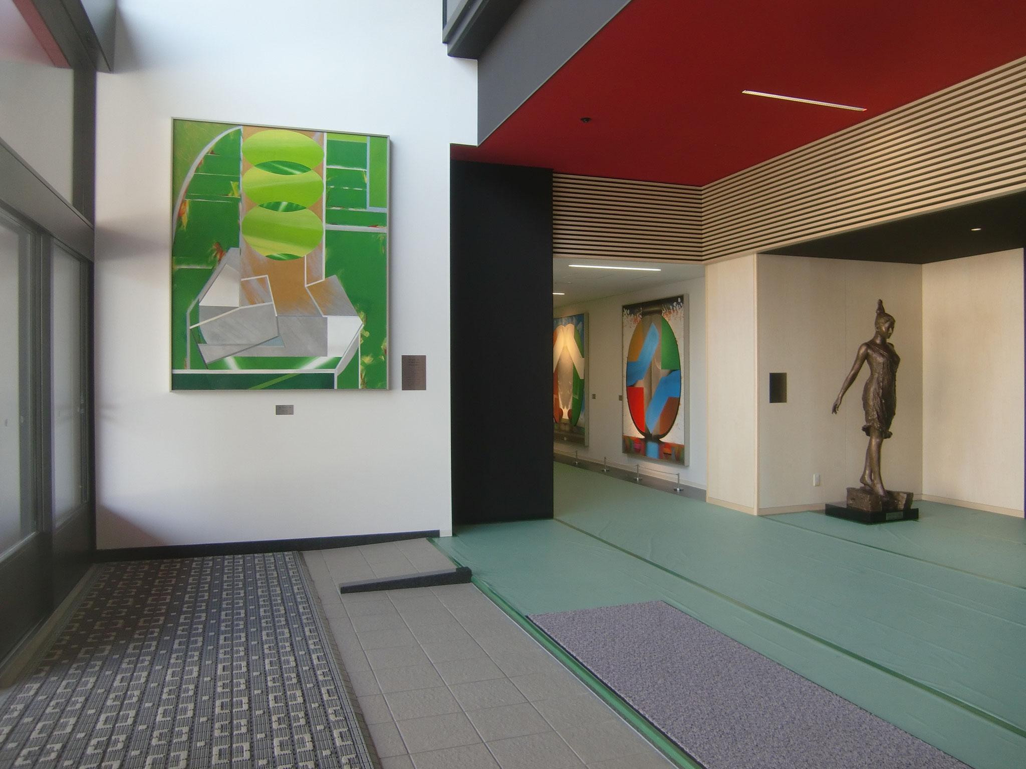 東体育館2階エントランス 「 風2017・Ⅱ」アクリル絵画 大田洋