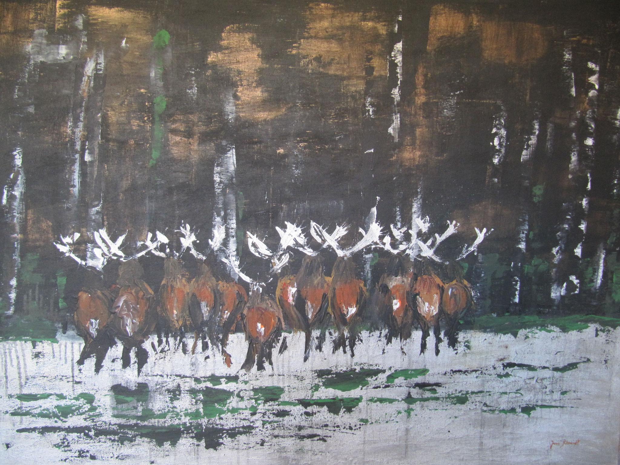Könige des Waldes 90 x 120 Acryl auf Keilrahmen