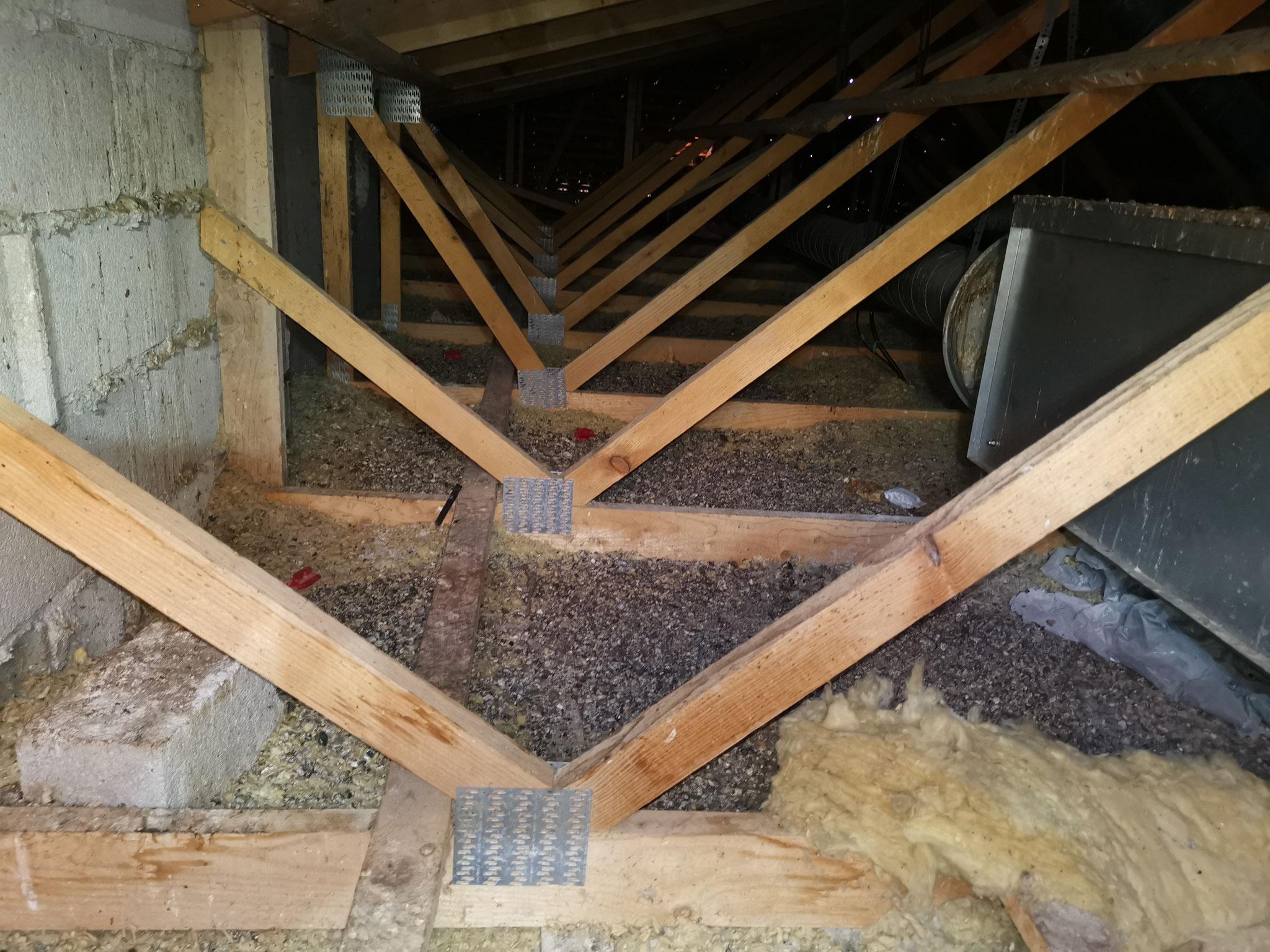 combles sous toit après une infestation de pigeon