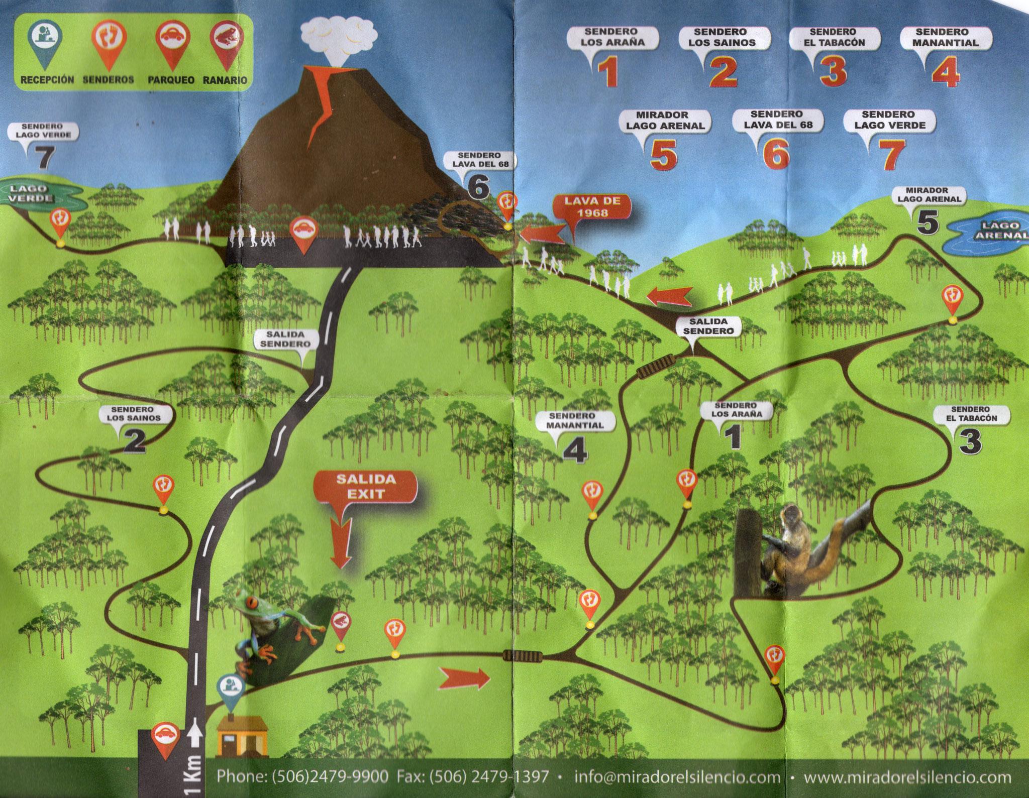 Vulcano Arenal - Trail-Map