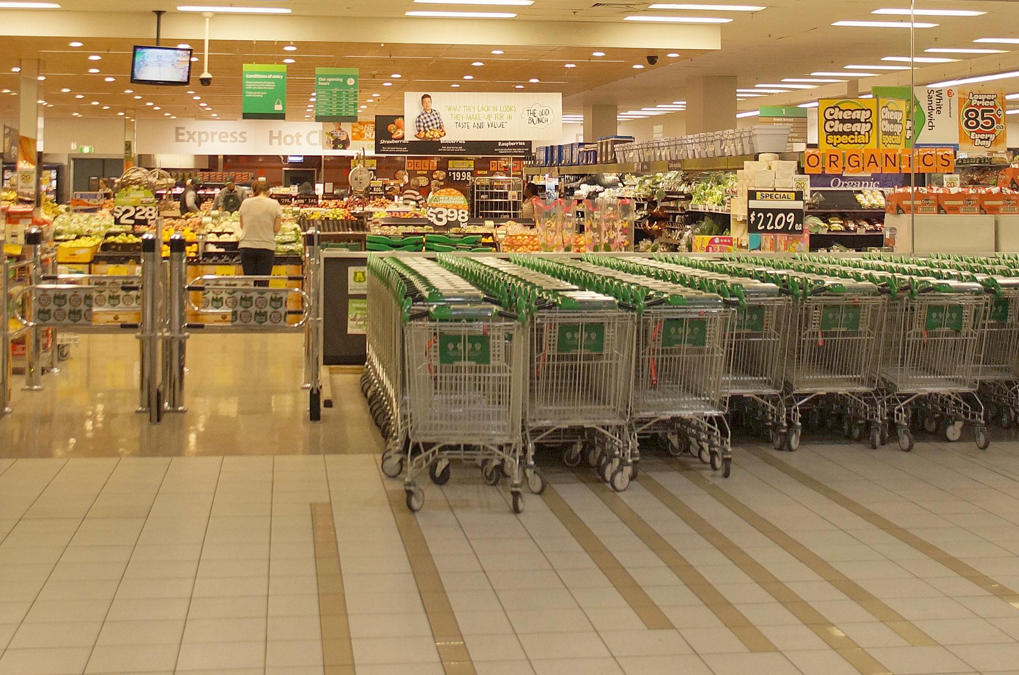 In allen größeren Städten Australiens findet ihr große Supermärkte.