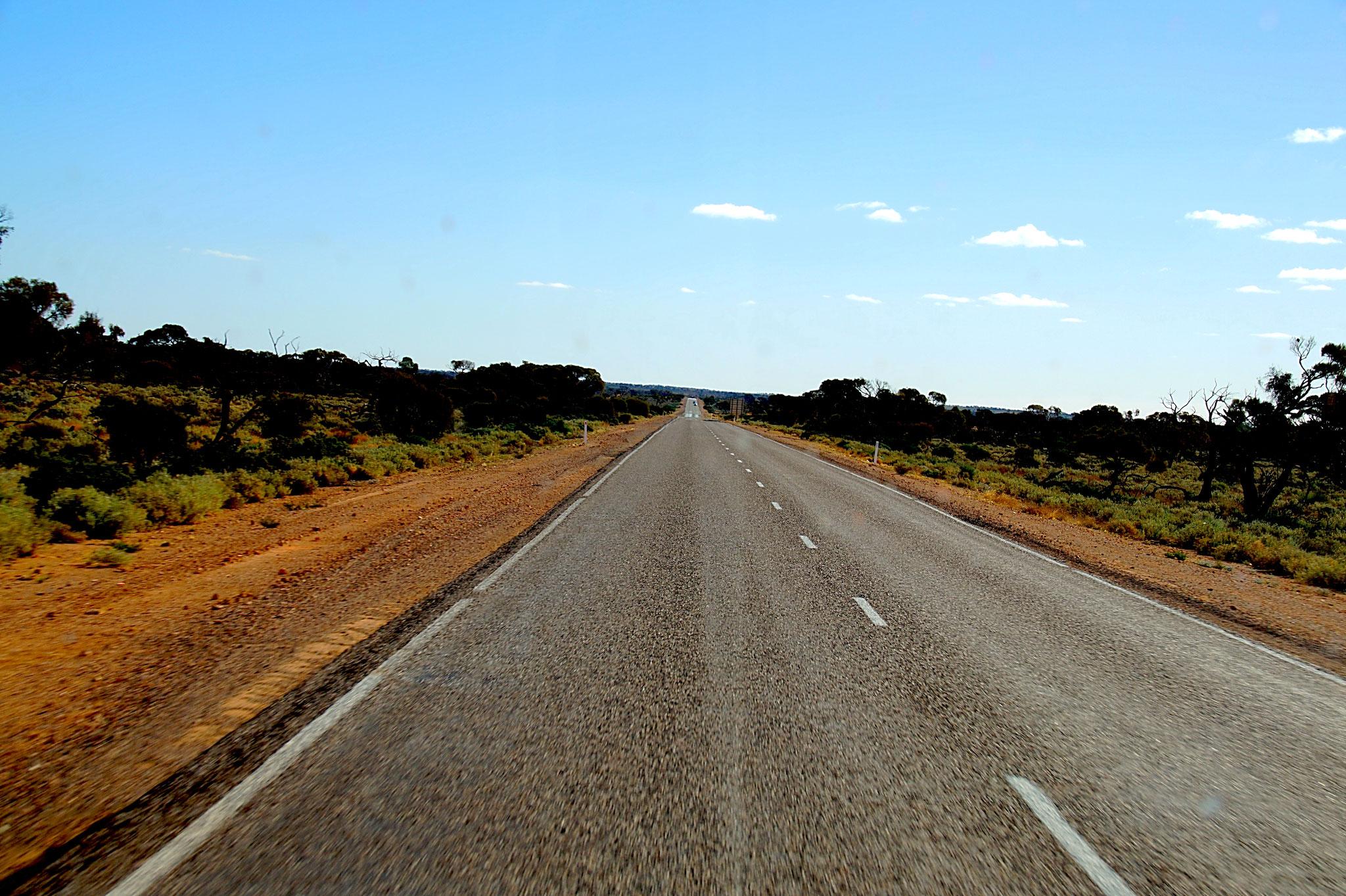Auf dem Stuart Highway geht's meist geradeaus.