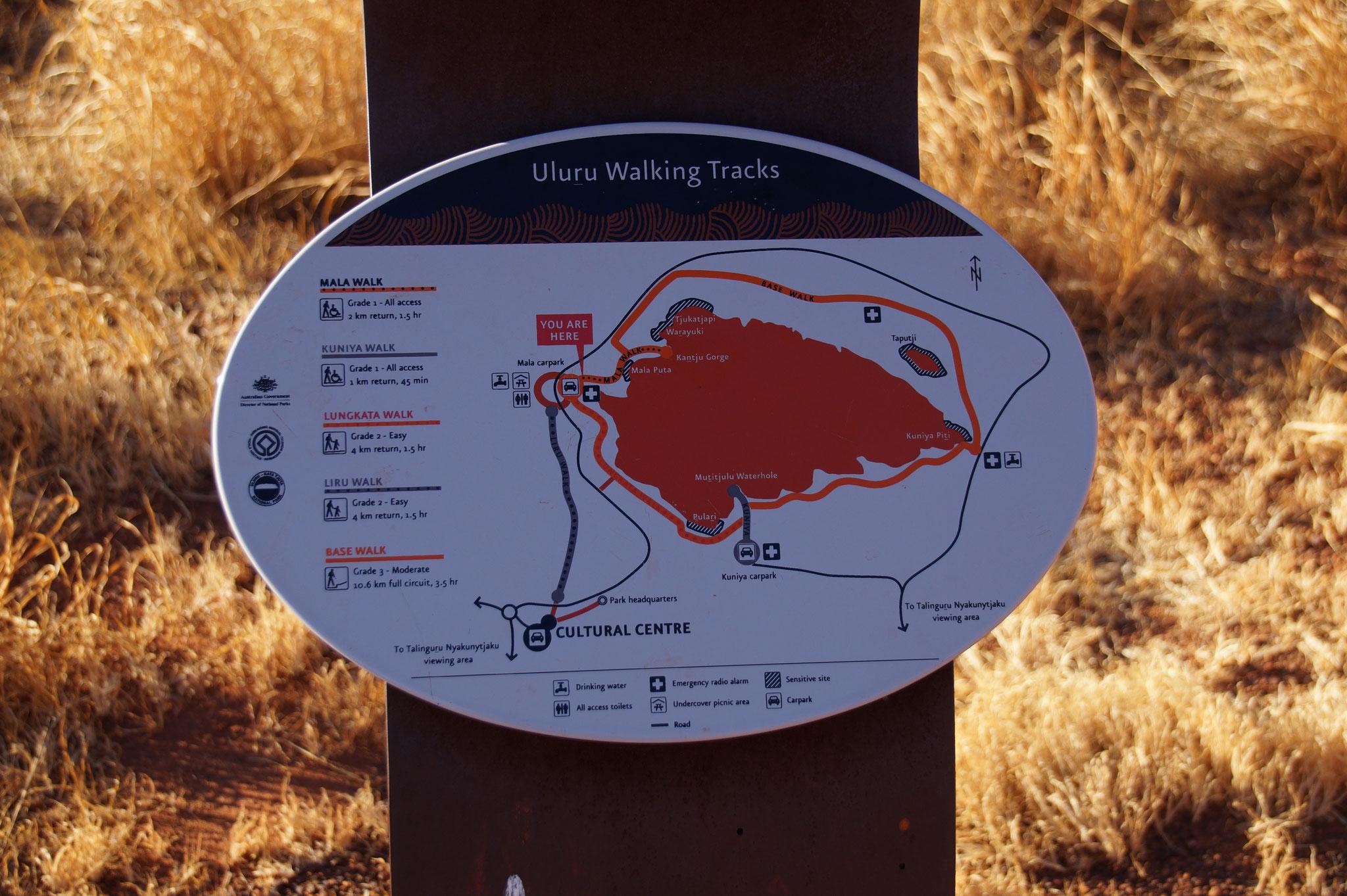 Wanderwege um den Uluru.