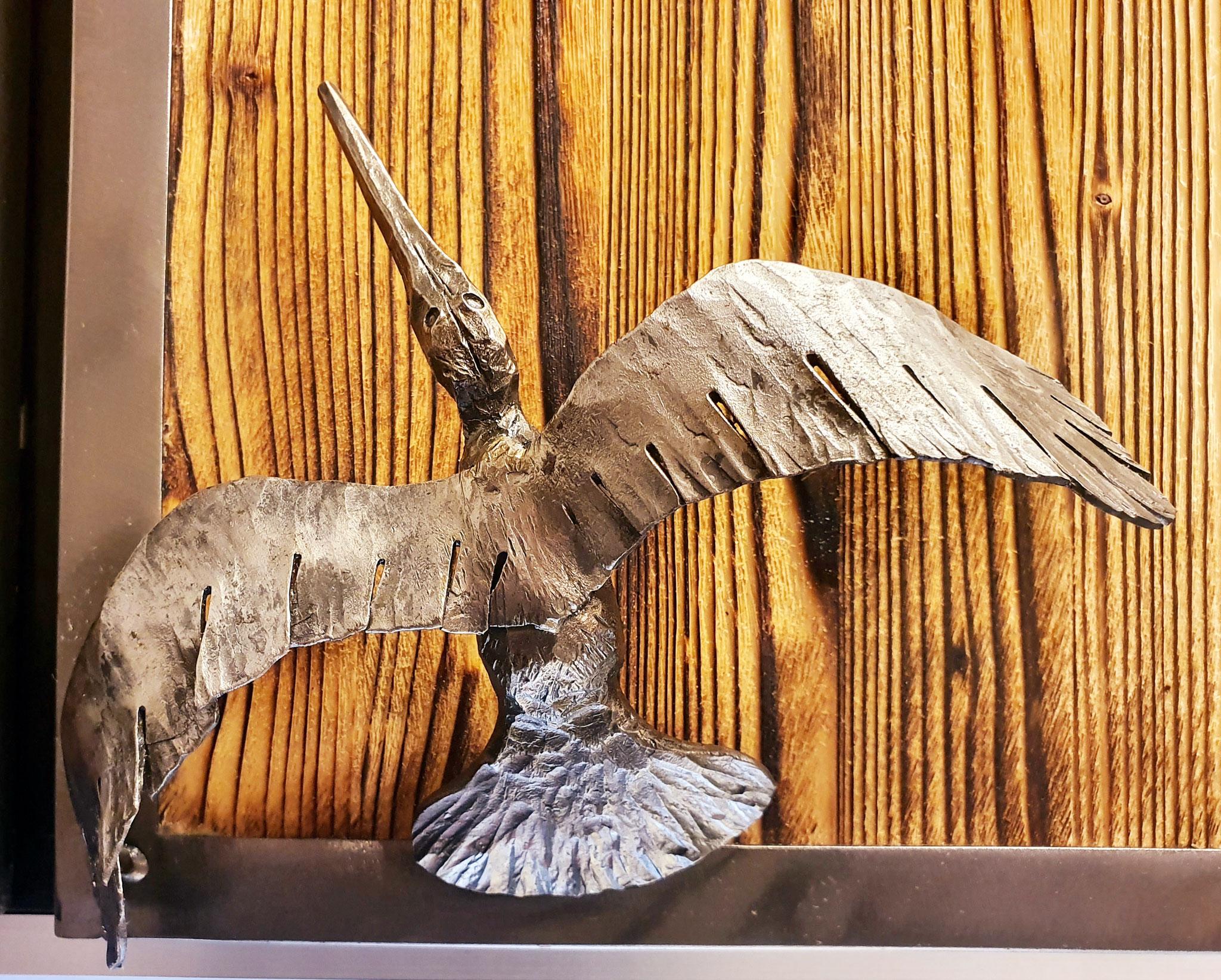 Türgriff / handgeschmiedeter Vogel