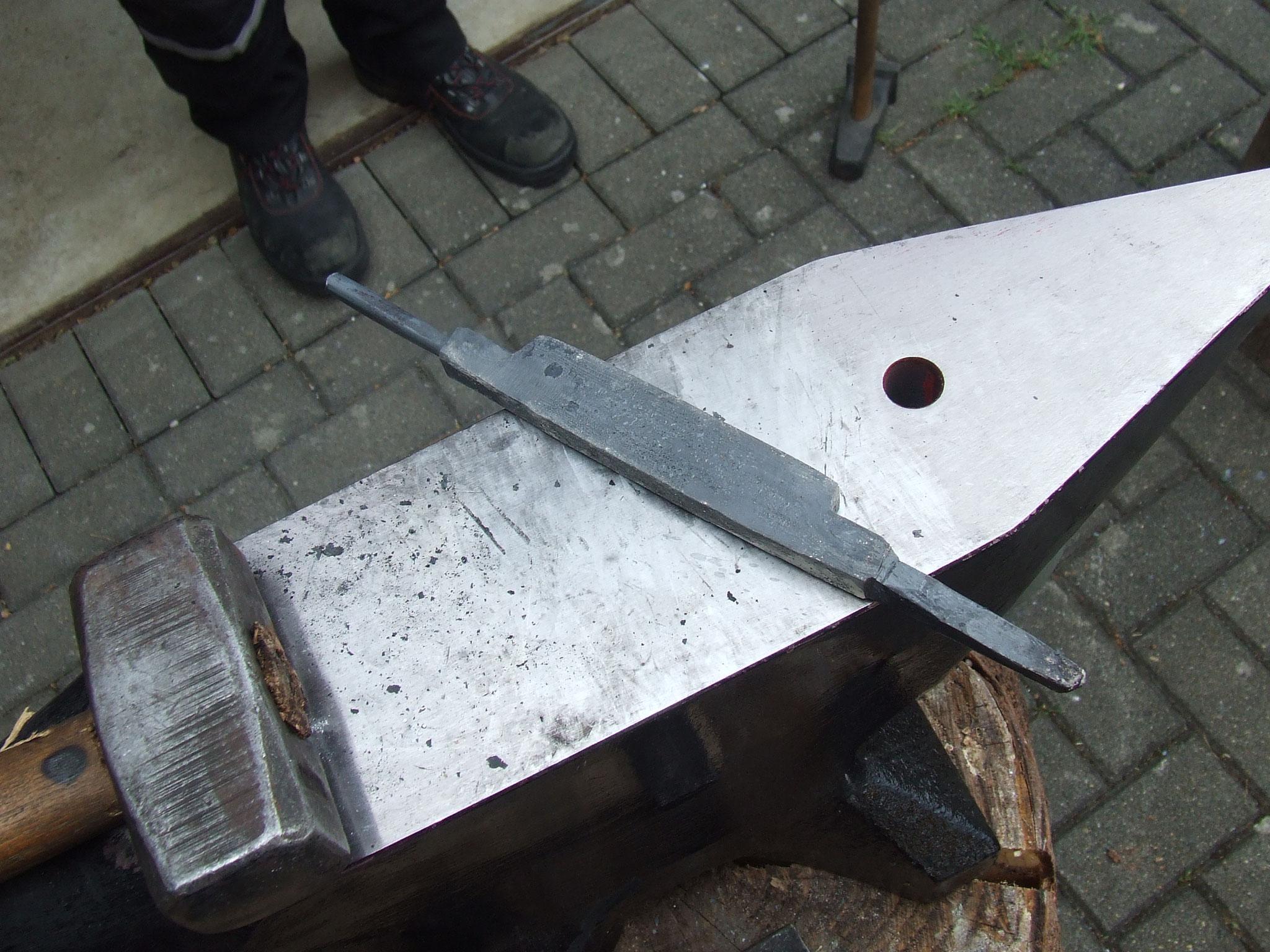 Damastrohling für zwei Messer