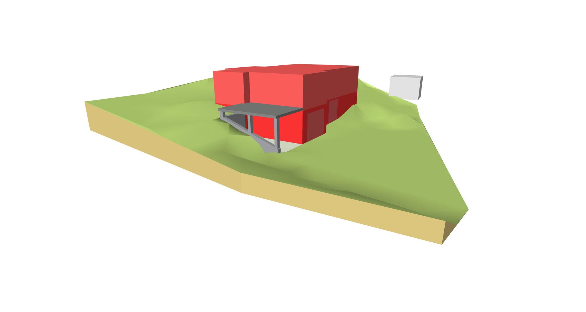 Visualisierung zur Positionierung eines Gebäudes - Ansicht 1