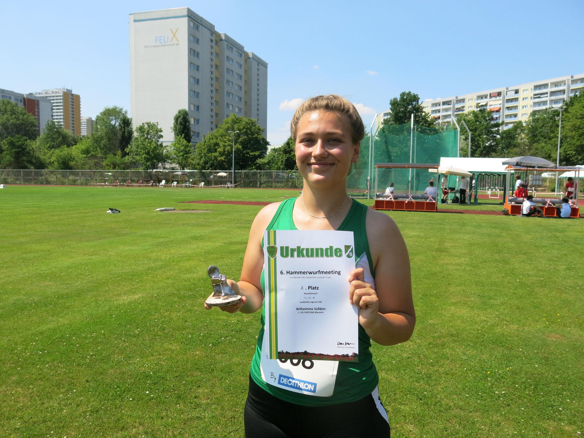 Platz 2 für Fortunas Nachwuchshoffnung Wilhelmine Süßbier (U18)