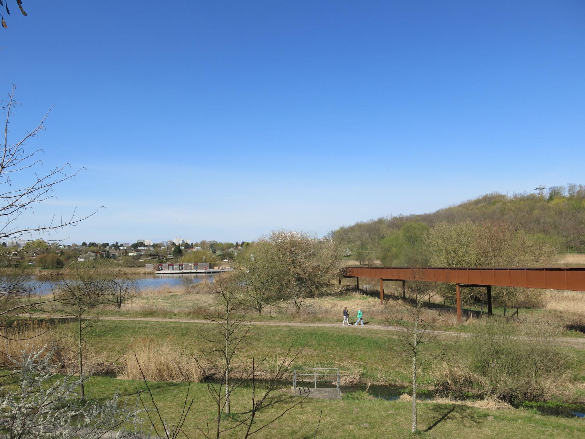 Tipp 9: Kienberg: Der Wuhlesteg, ein knapp 300 Meter langes Brückenbauwerk aus rostbraunem Cortenstahl, überspannt das Wuhletal.