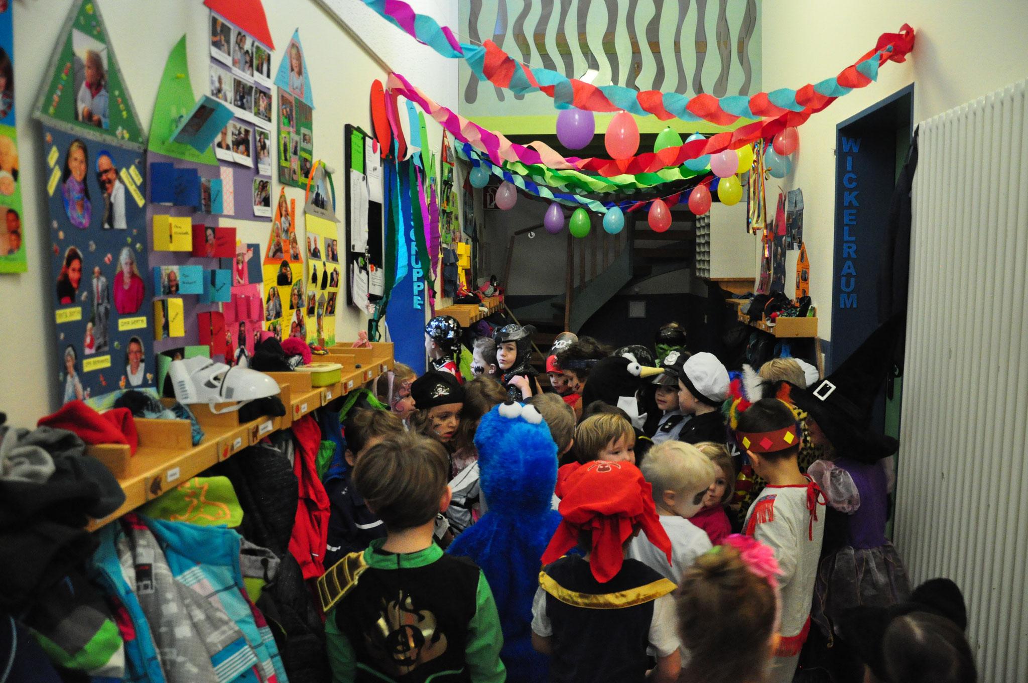 Karnevalsfeier im Kindergarten.