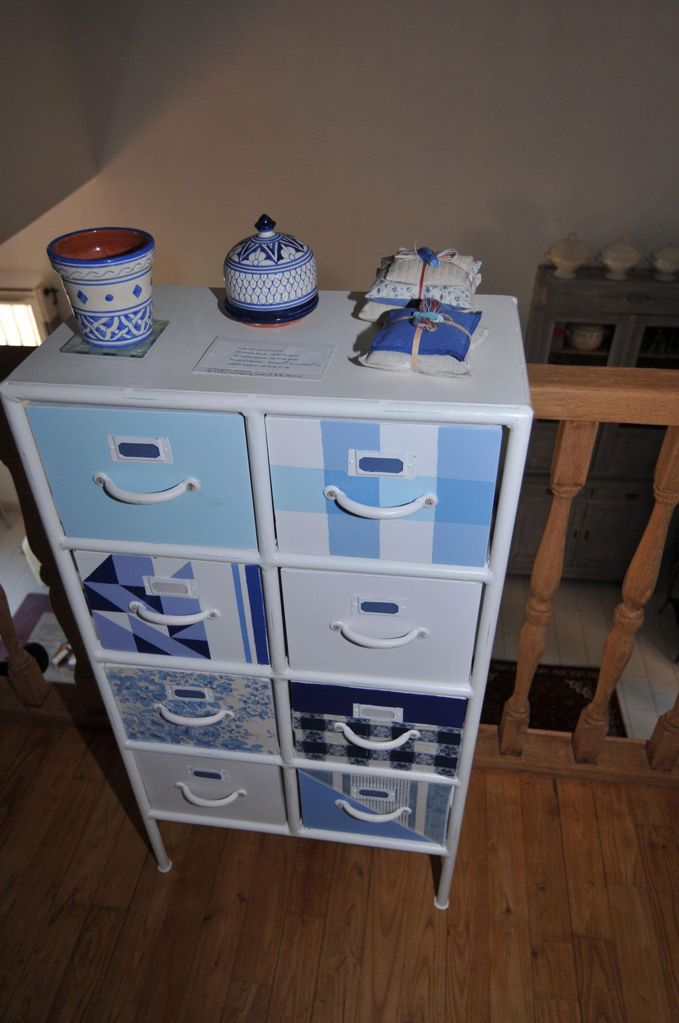 meuble métier relooké en camaieu de bleus