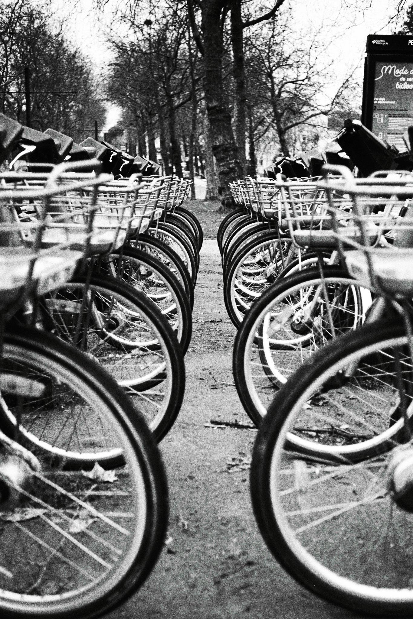 """""""Fashion bikes"""" - Petit Port, Nantes (2021). Ilford Pan 400 ASA. © Clémence Rougetet"""