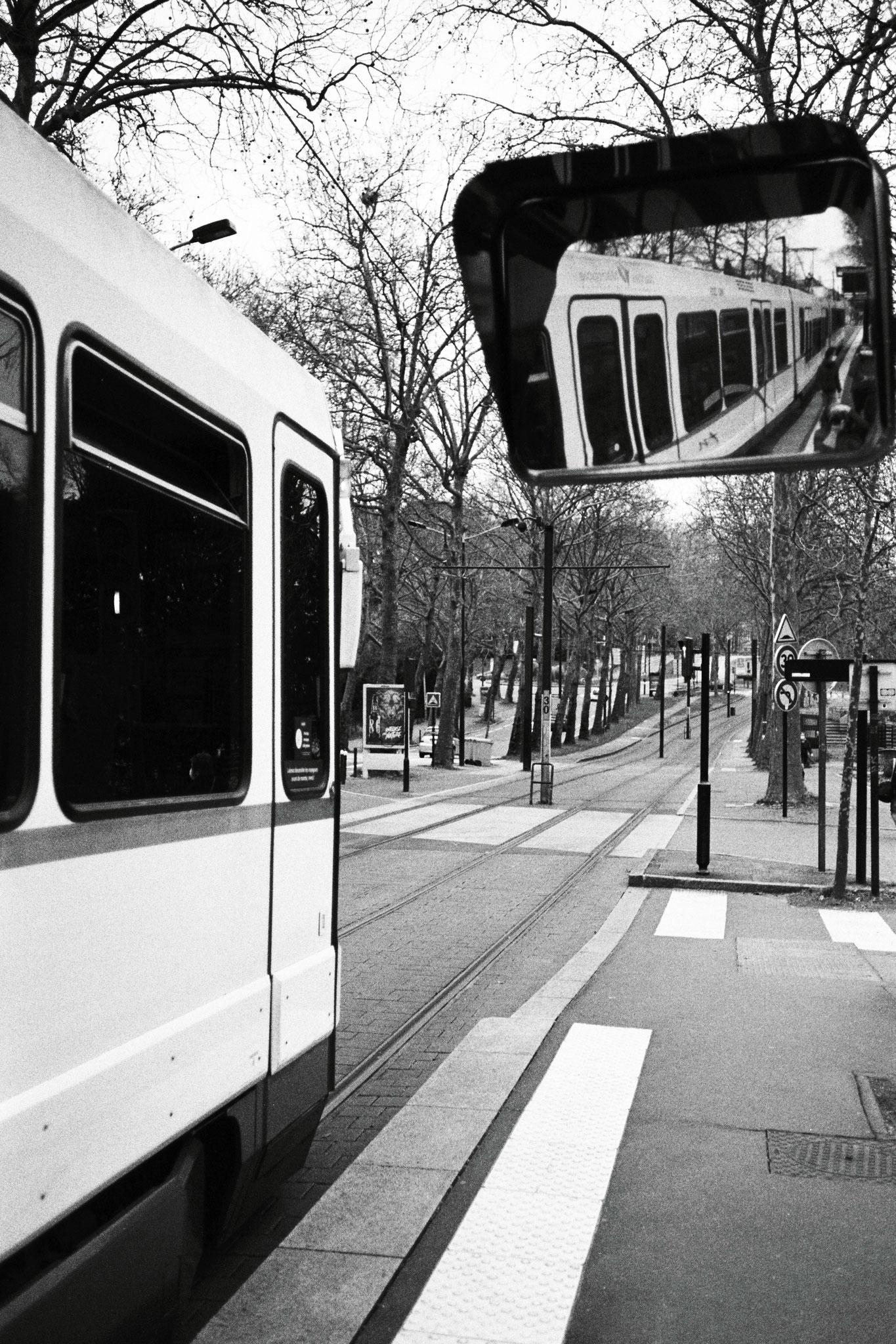 """Urban mirroring"" - Petit Port, Nantes (2021). Ilford Pan 400 ASA. © Clémence Rougetet"
