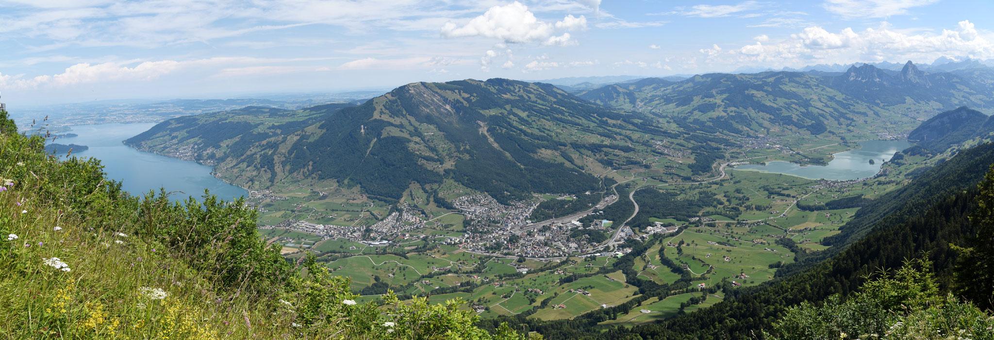 Blick von der Rigi Scheidegg, Zugersee Lauerzersee