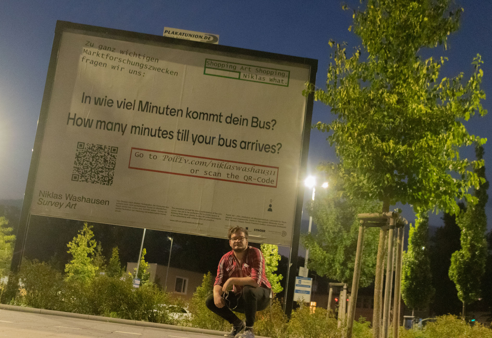 """Survey Art: Bus"", 2020, Bahnhofstrasse (with the artist)."