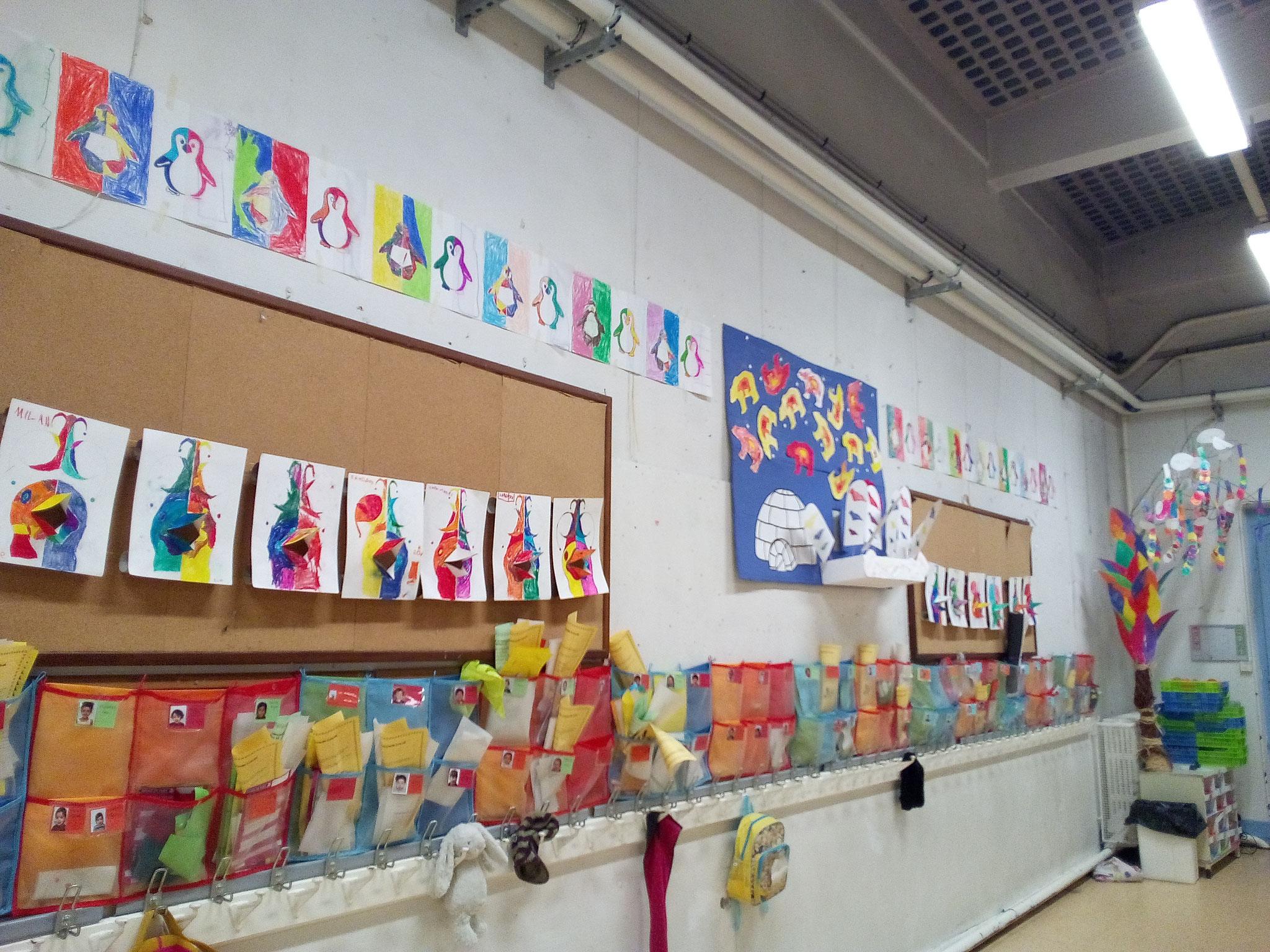 Vu d'ensemble de l'expo de l'école de février 2017