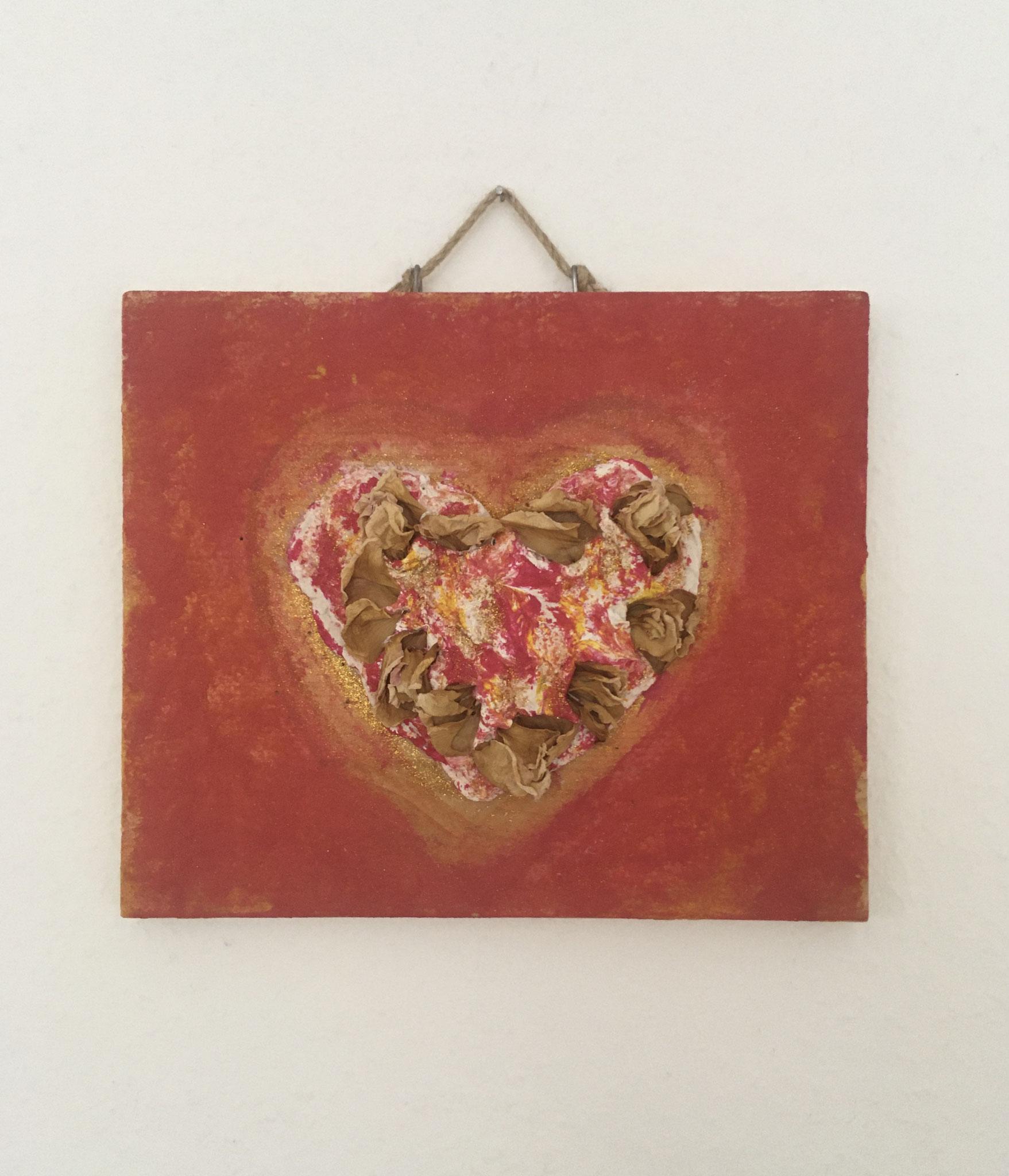 Weiches Herz (23,5x28,5x2cm) auf Holz