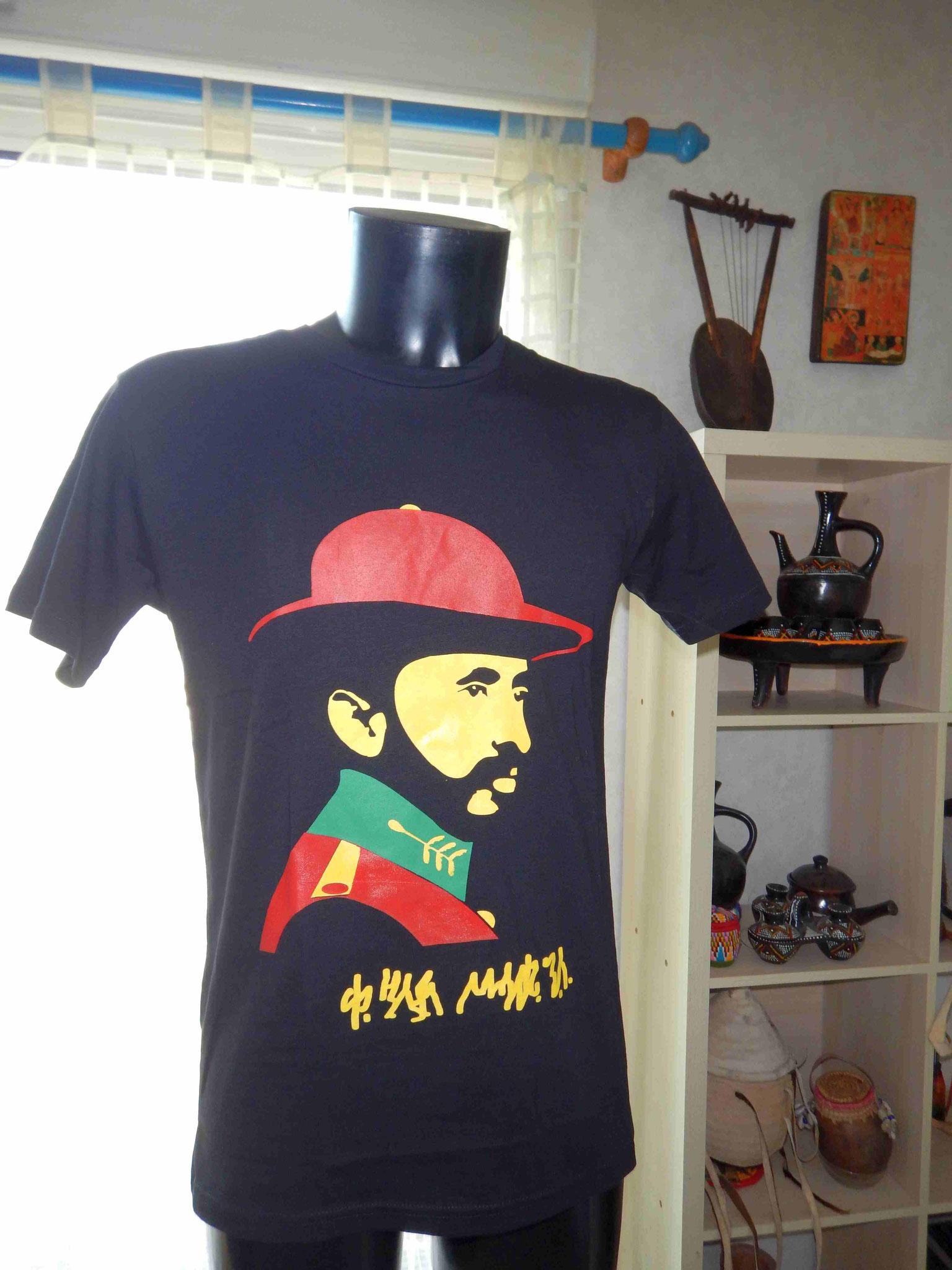 Tshirt Rasta Haile Selassie Ras Tafari coton ethiopie made in Ethiopia Ethiopie Epices éthiopiennes made by locals solidaire équitable artisanat textils voyage Ethiopie