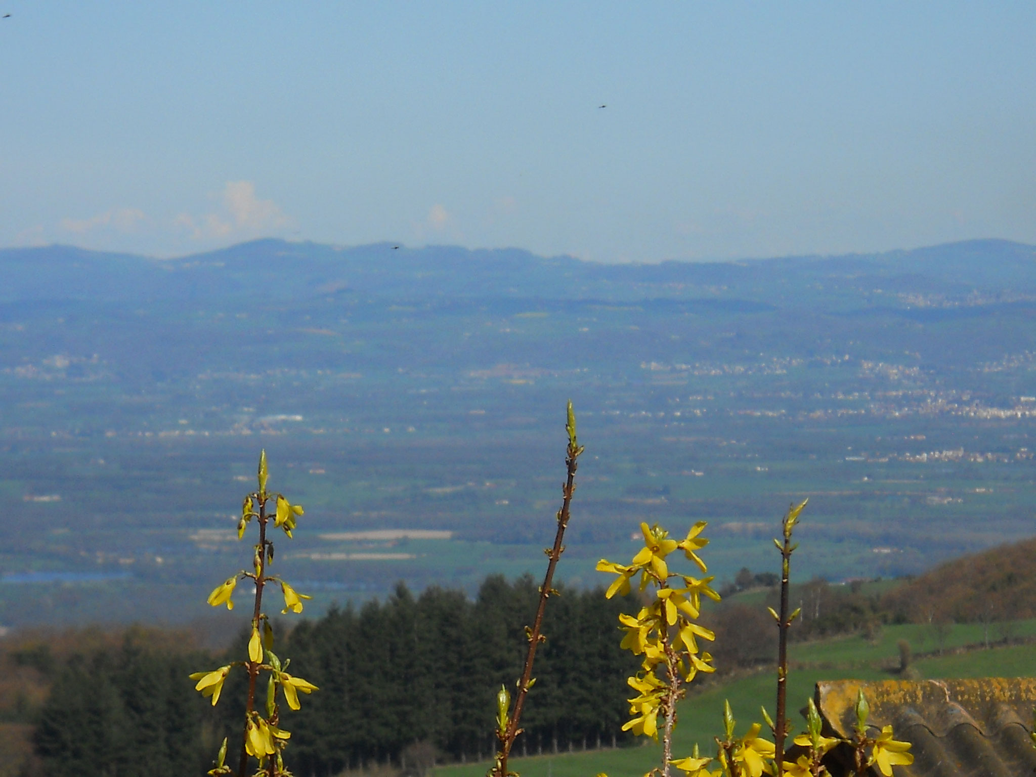 Vue sur la plaine du Forez depuis le hameau de Chavannes