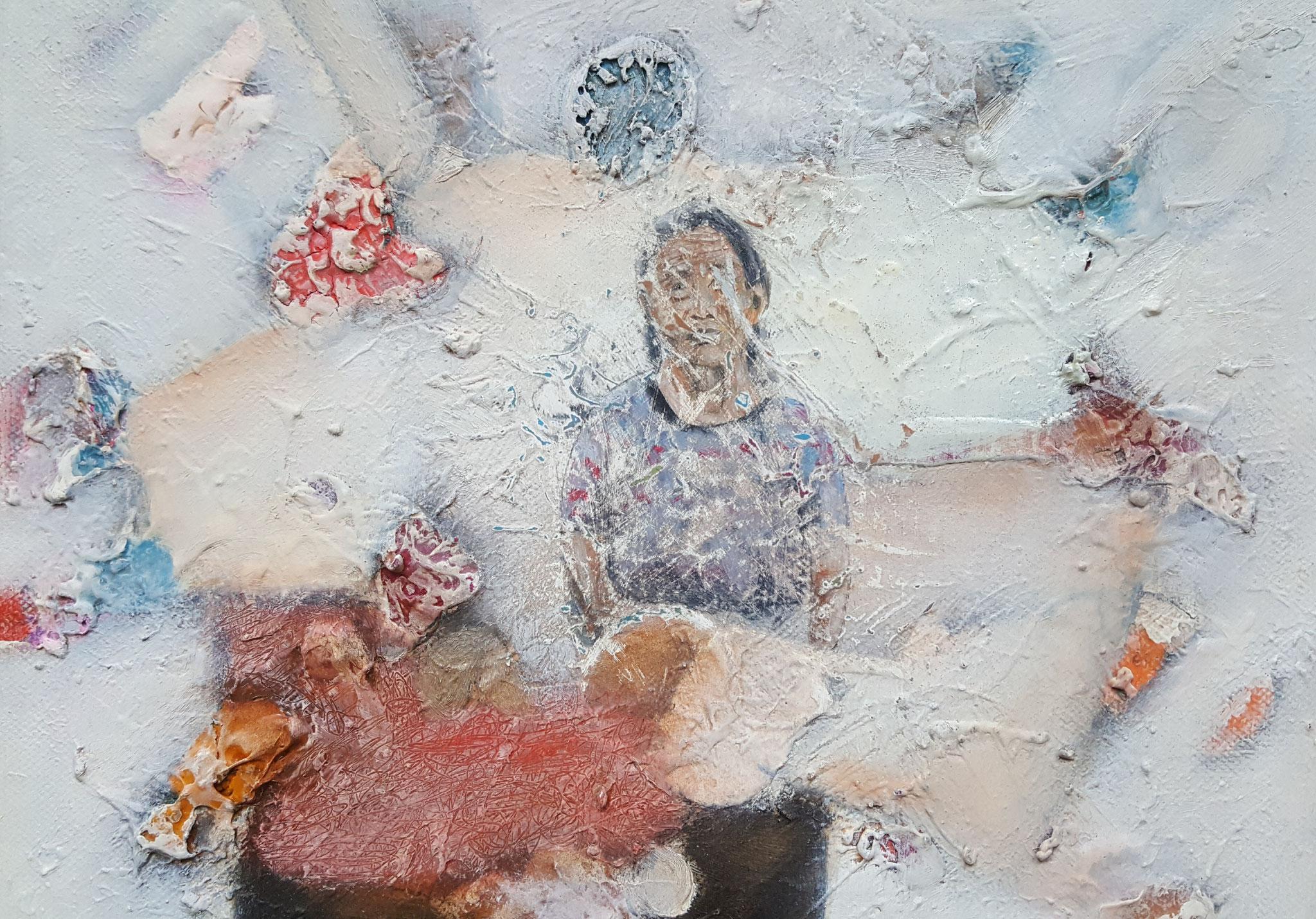 Des-aparecidos III, 2018, 30 x 24 cm, Mixed media on canvas