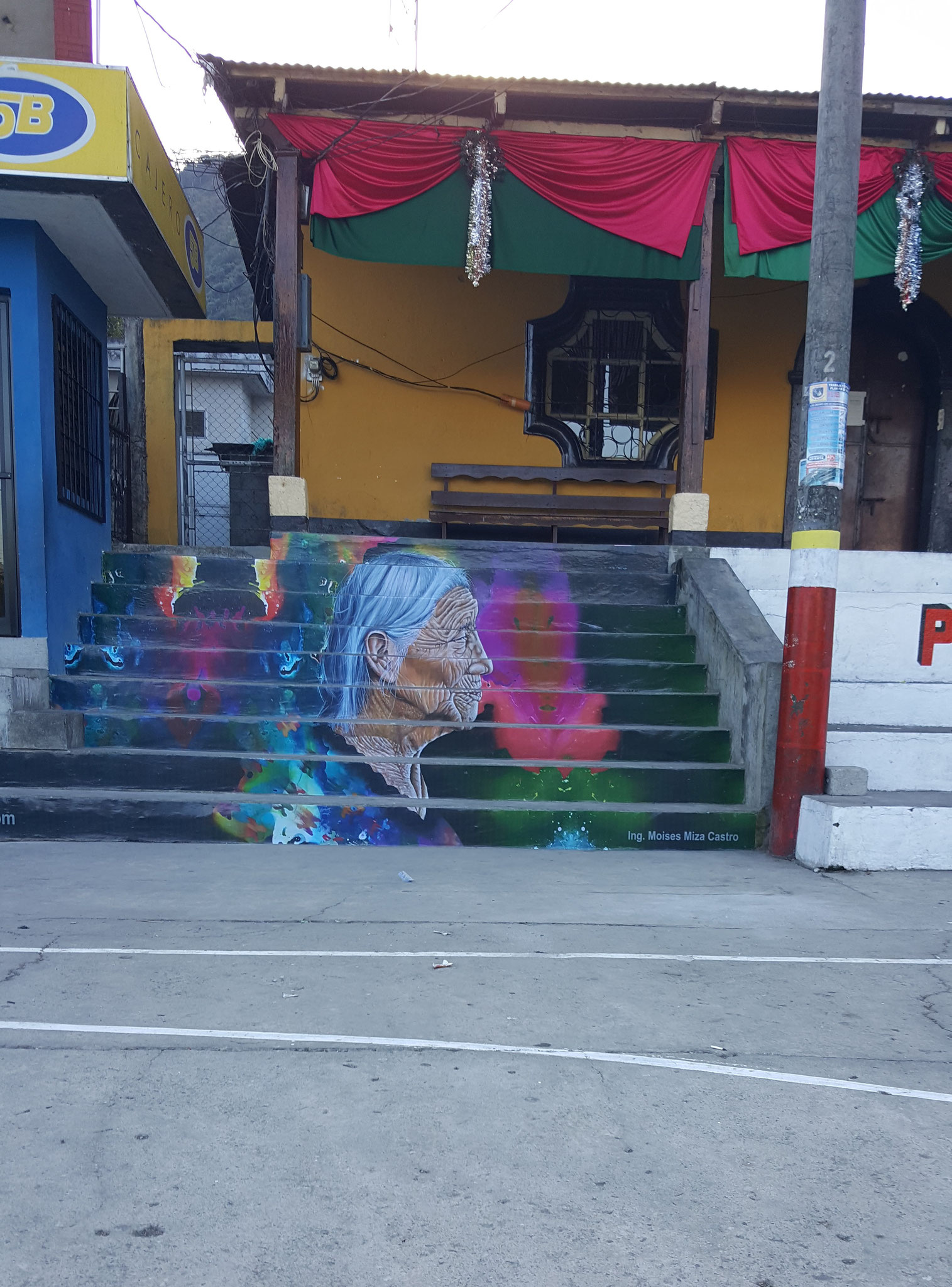 Painting by Gustavo Juárez on the staircases to the townhall of San Lucas Toliman, 2018