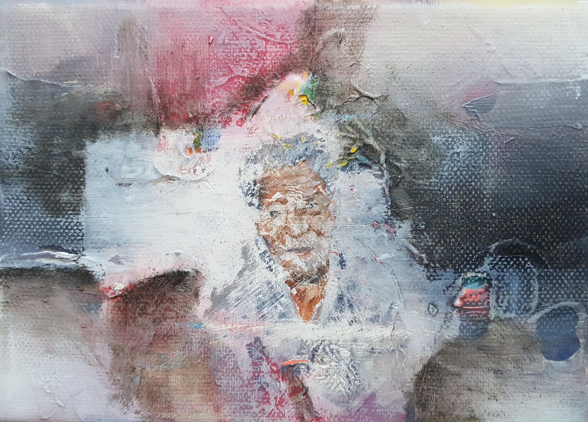 Des-aparecidos I, 2018, 18 x 13 cm, Técnica mixta sobre lienzo