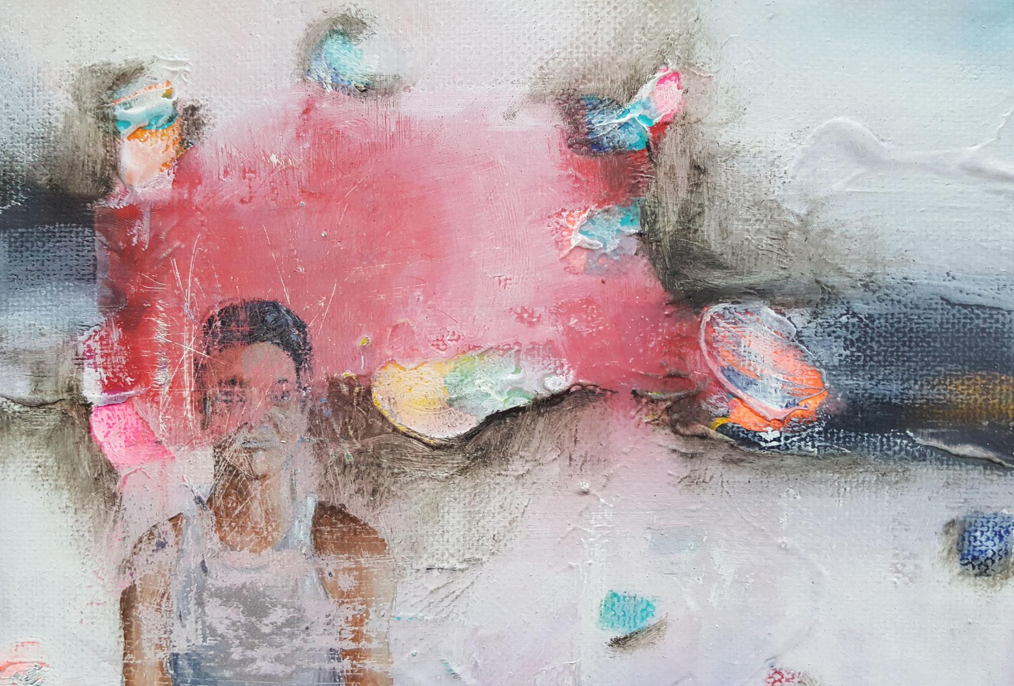 Des-aparecidos II, 2018, 18 x 13 cm, Técnica mixta sobre lienzo