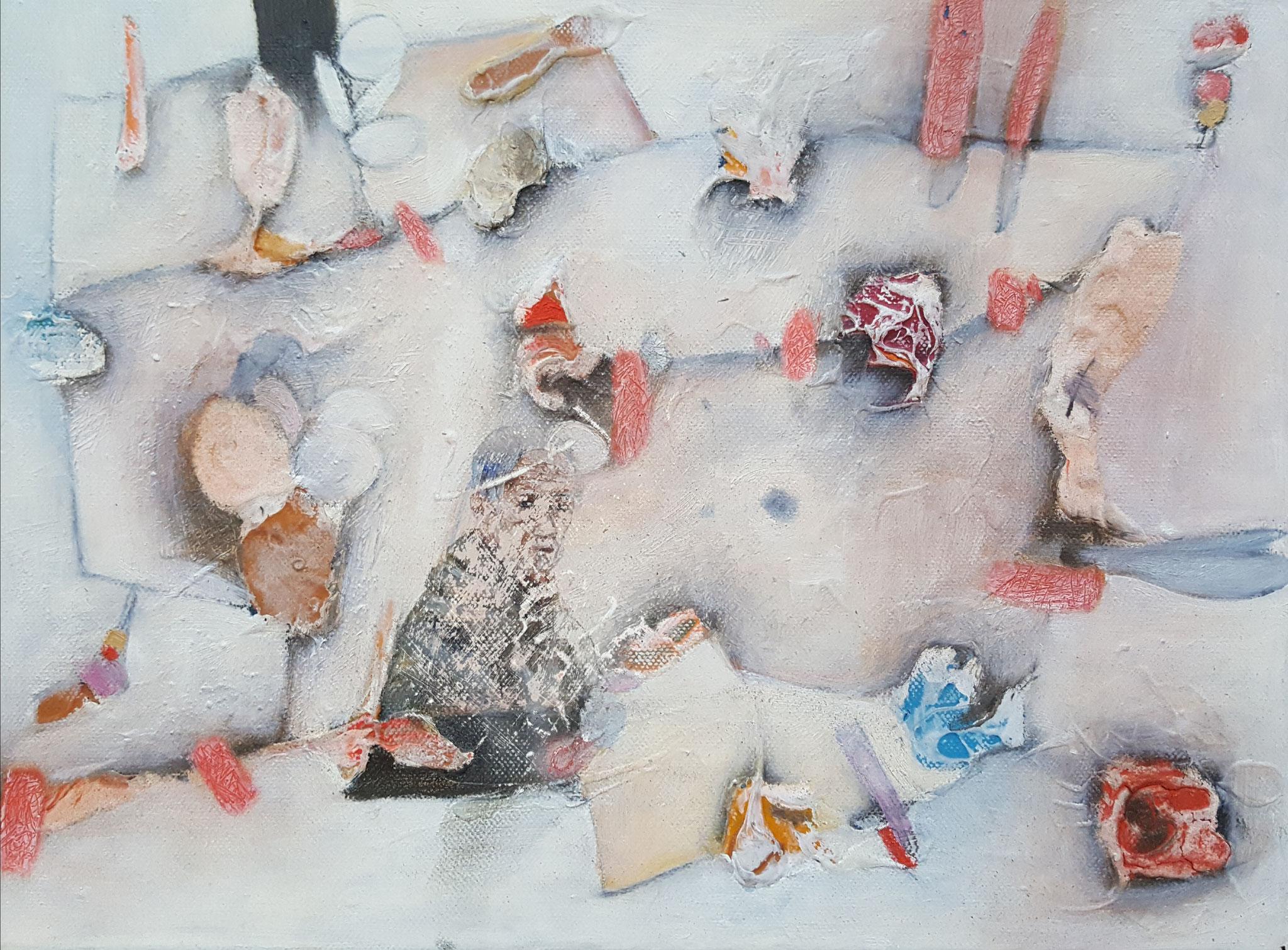 Des-aparecidos IV, 2018, 40 x 30 cm, Técnica mixta sobre lienzo