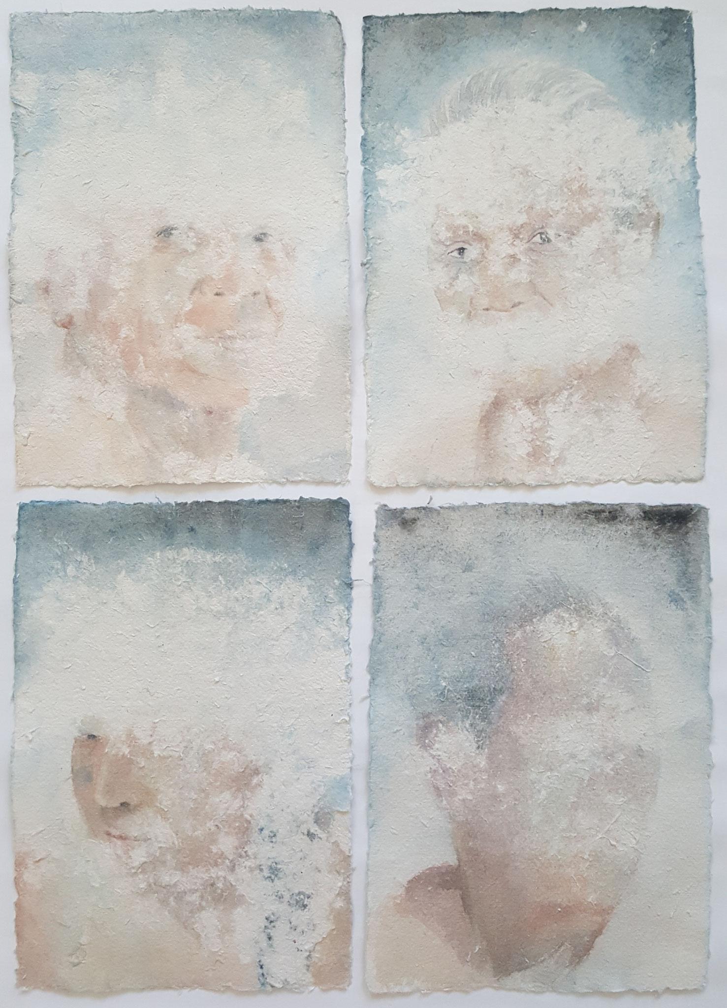 Des-aparecidos XIX, 2018, Polyptichon á 20 x 30 cm, Aquarell auf Papier