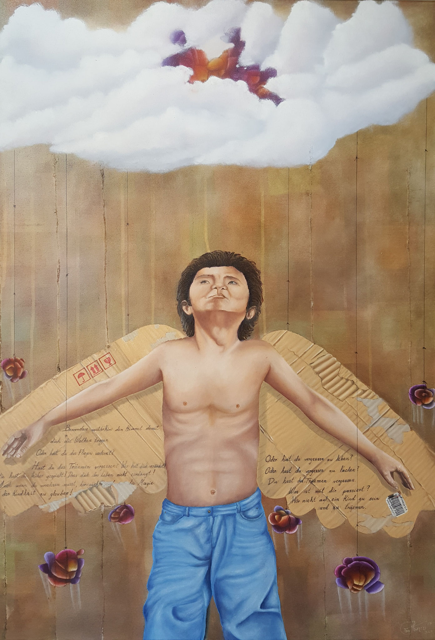 Cargador de sueños I, 2016, 70 x 100 cm, Óleo sobre lienzo