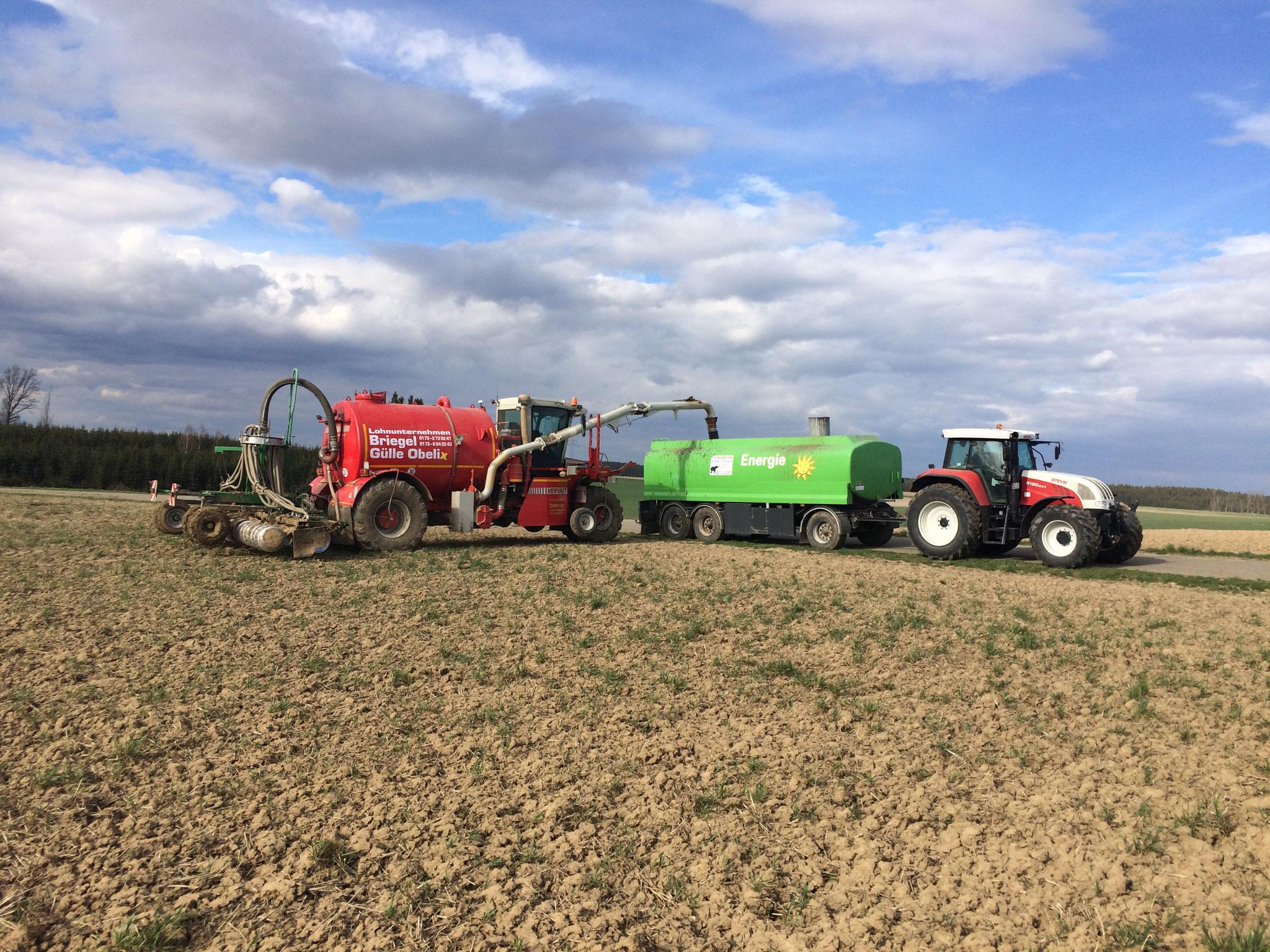 Gülleausbringung und Bodenbearbeitung in einem Arbeitsgang