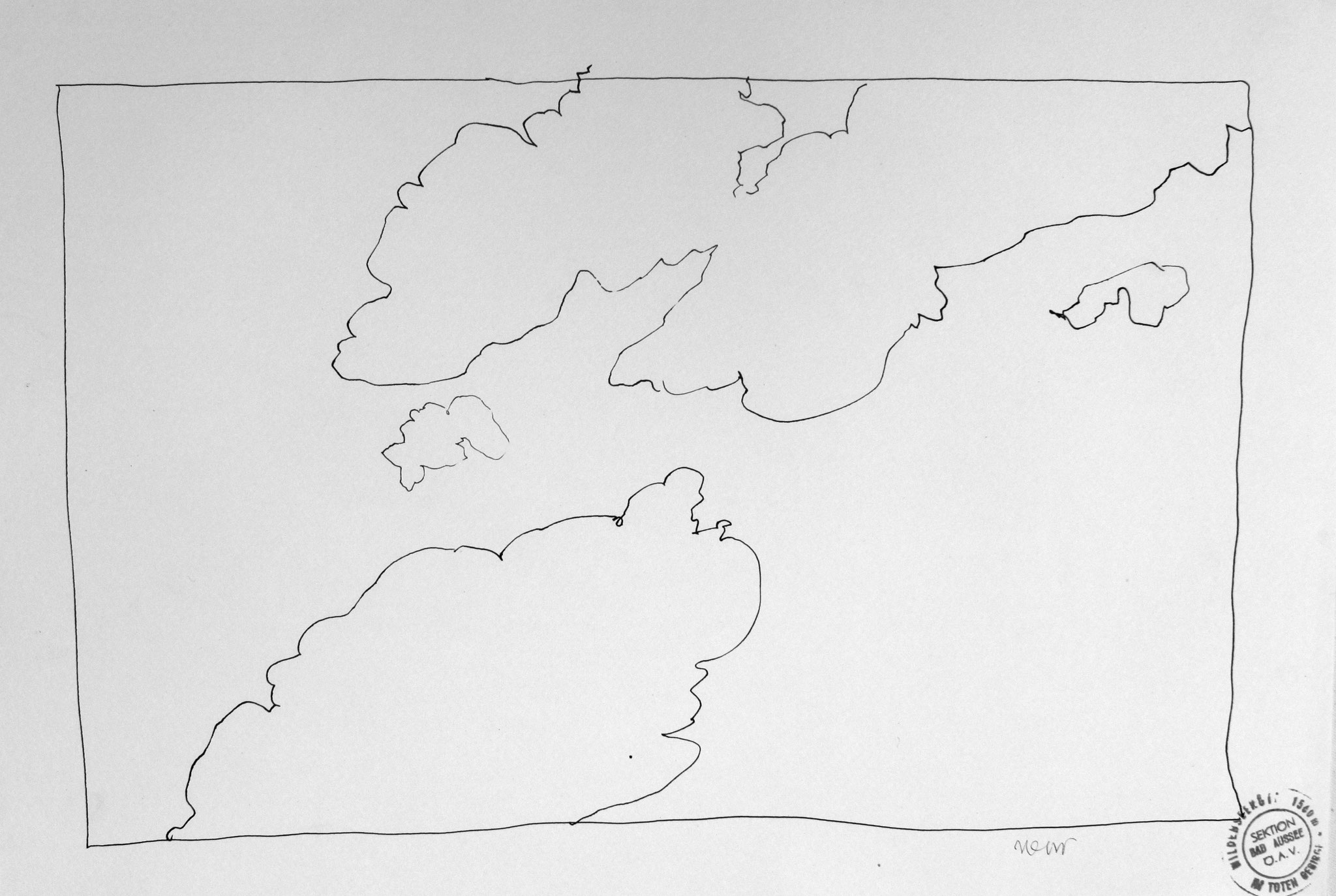 Wolken über der Wildenseehütte, Totes Gebirge, 1987, Stahlfederzeichnung, Tusche auf Papier, 28 x 42 cm © Josef Taucher