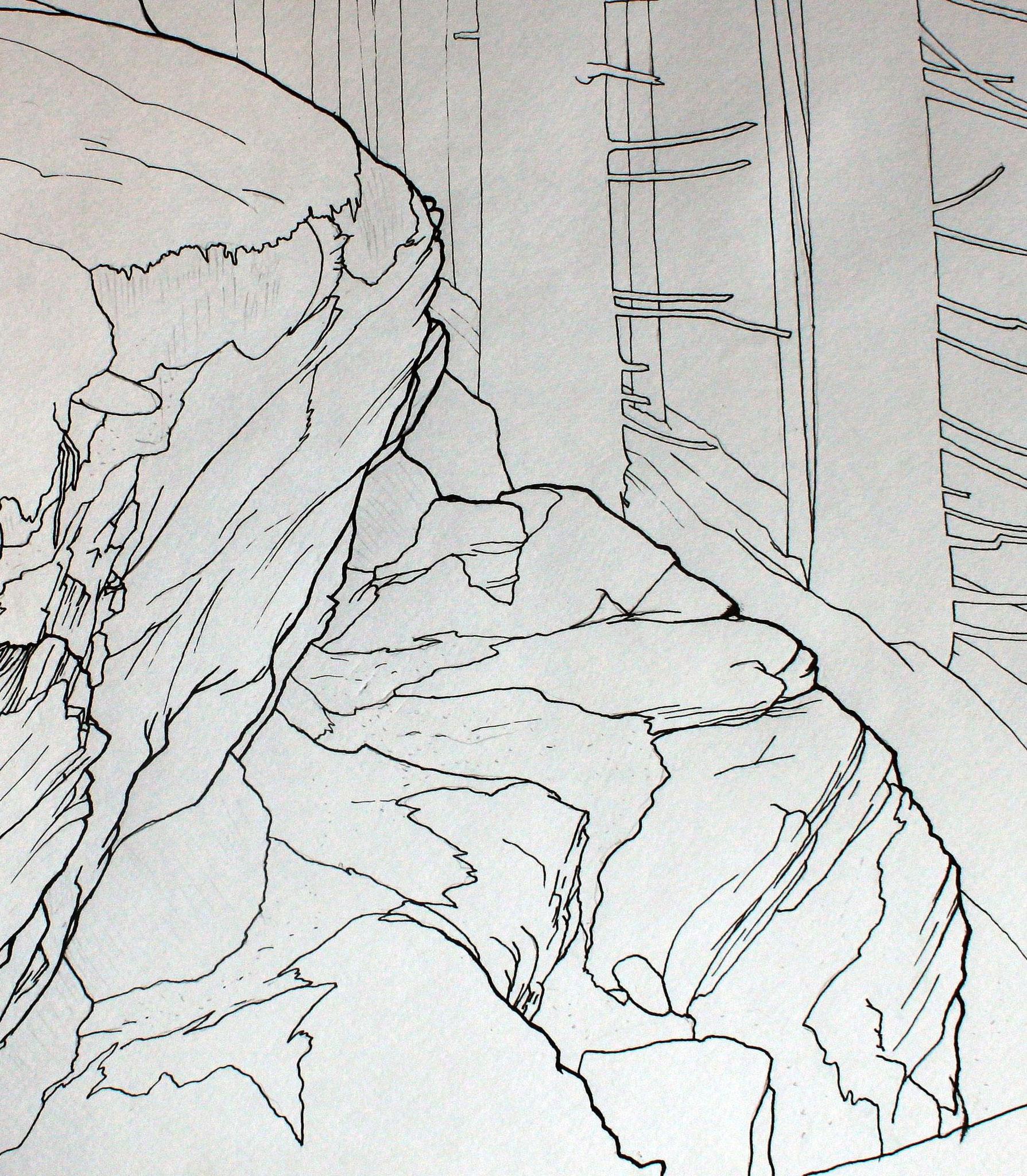 Höllkögerl, Typuslokalität des Minerals Pretulit, 1996, Stahlfederzeichnung, Tusche auf Papier, 28 x 42 cm © Josef Taucher
