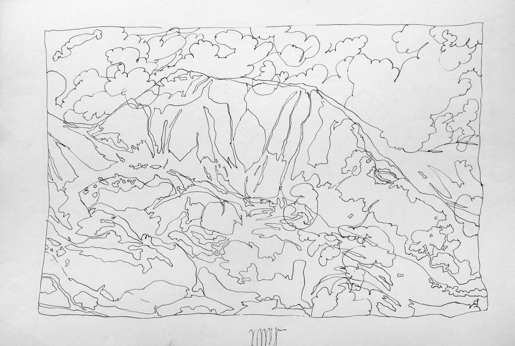 Brandstätterkogel, Seckauer Tauern, 1985, Stahlfederzeichnung, Tusche auf Papier, 28 x 42 cm © Josef Taucher