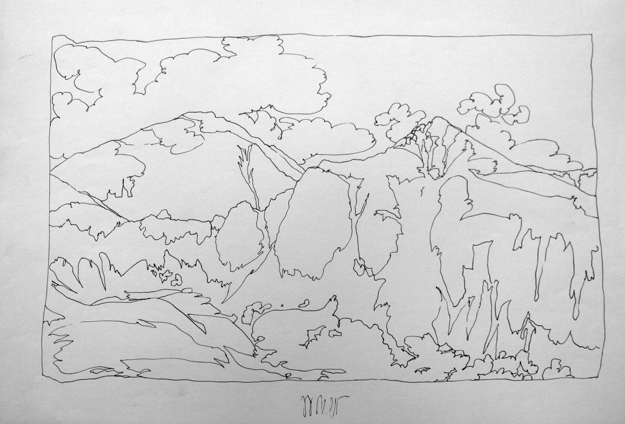 Hochreichart, 1985, Stahlfederzeichnung, Tusche auf Papier, 28 x 42 cm © Josef Taucher