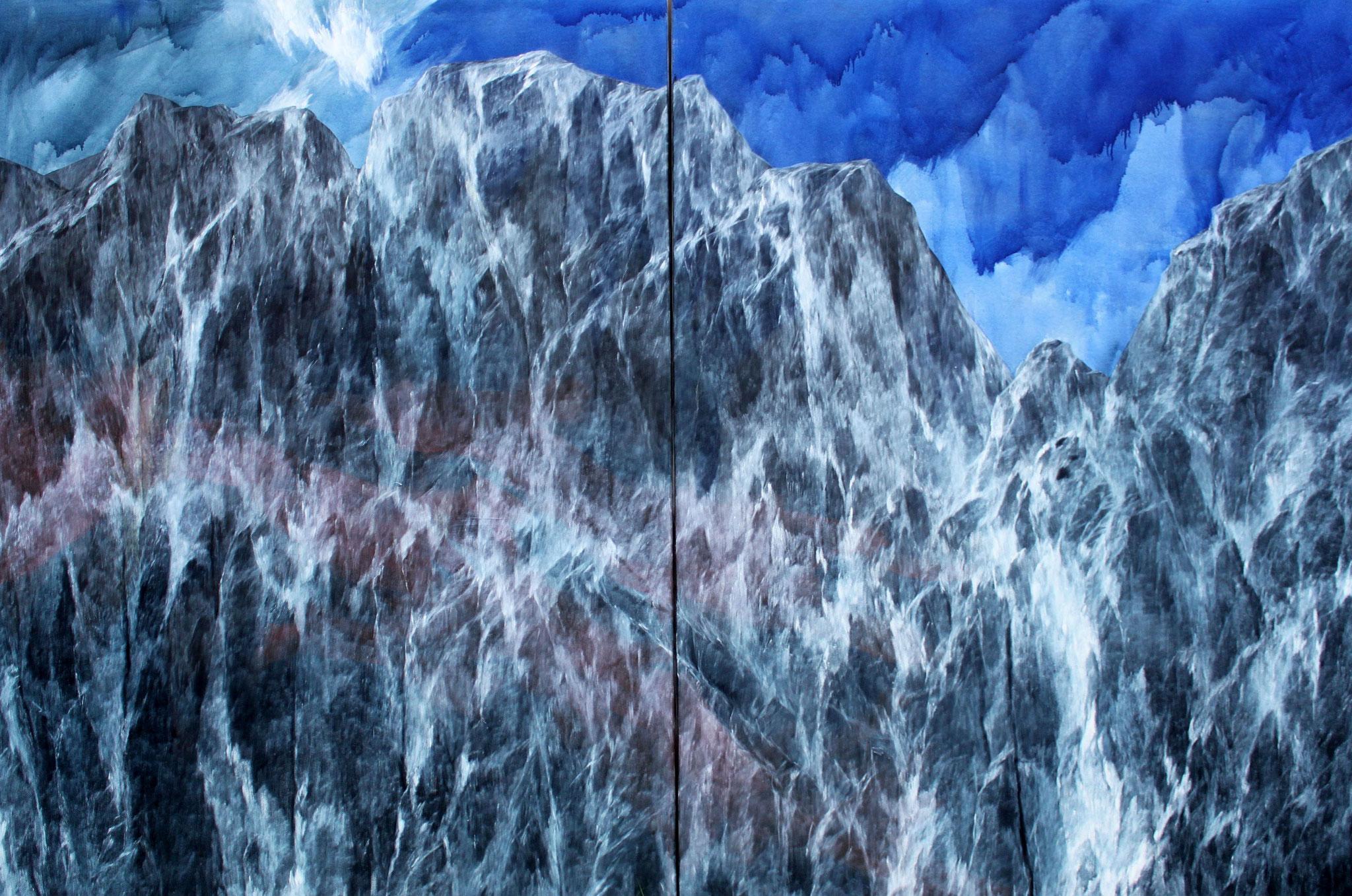 Josef Taucher, Ausbruch 1, 2017, Öl/Molino, Diptychon, 205 x 300 cm © Josef Taucher