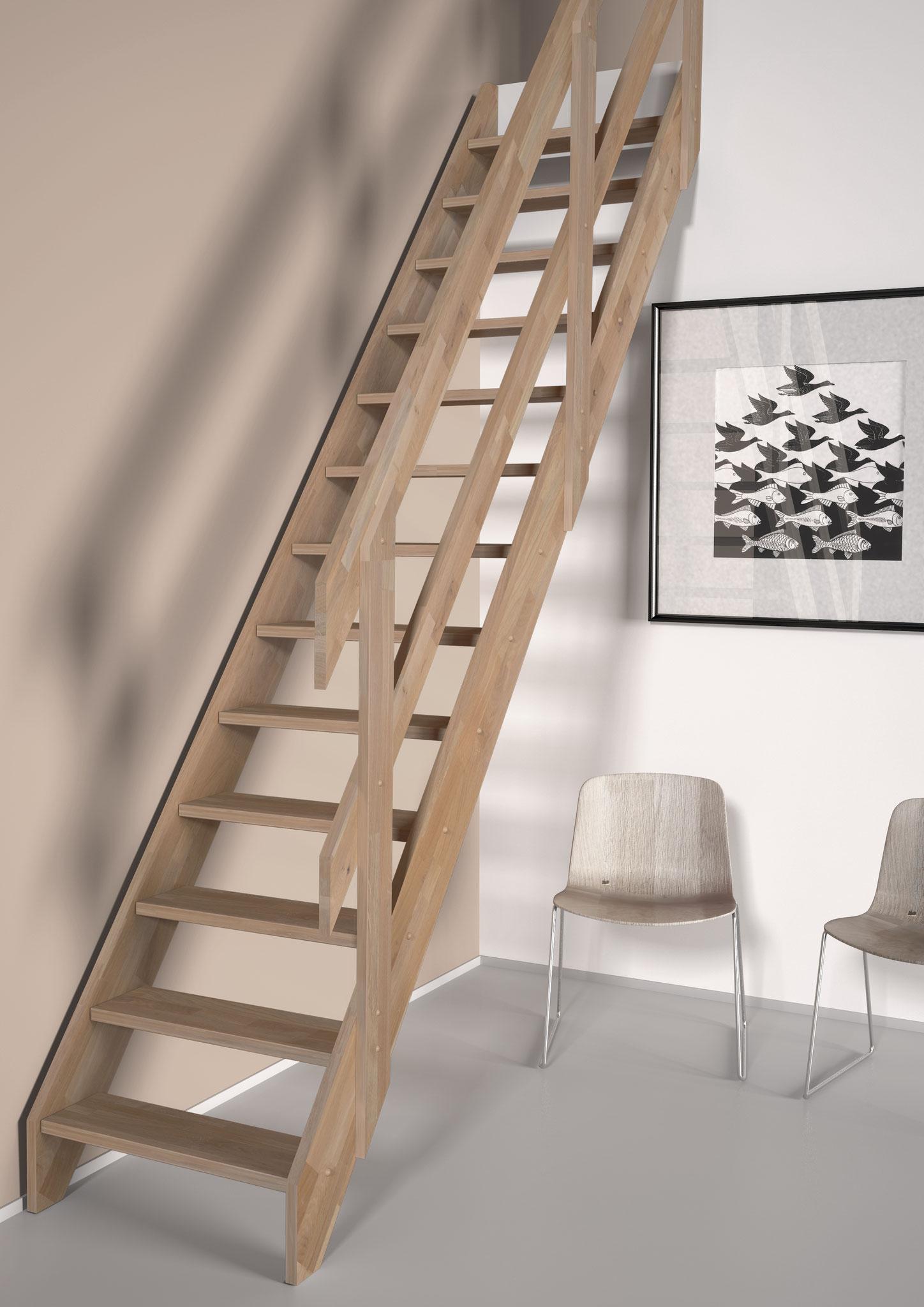 Ardenne escalier droit en chêne et rampe à lisses