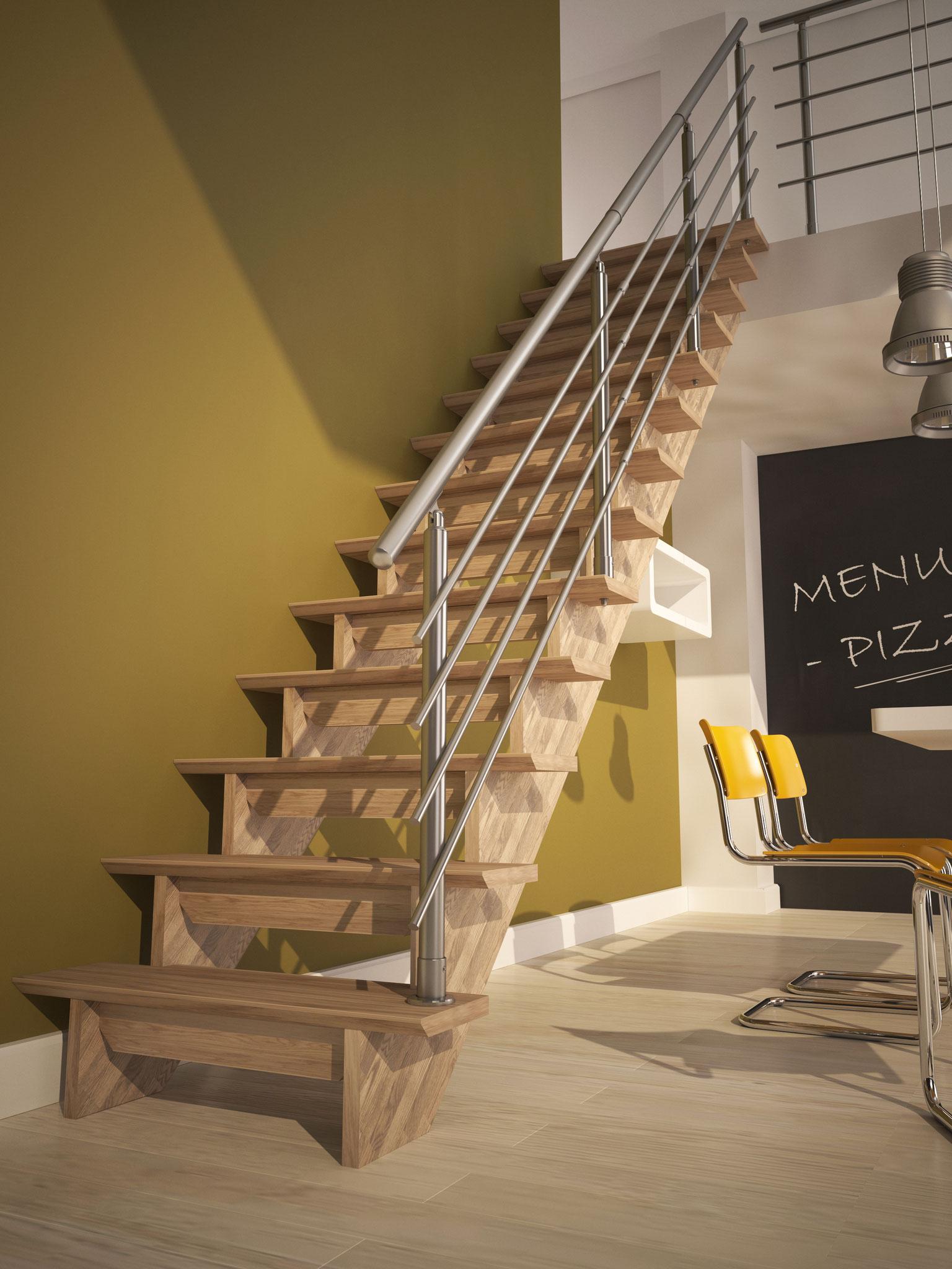 Auvergne escalier droit rampe alu et garde-corps étage