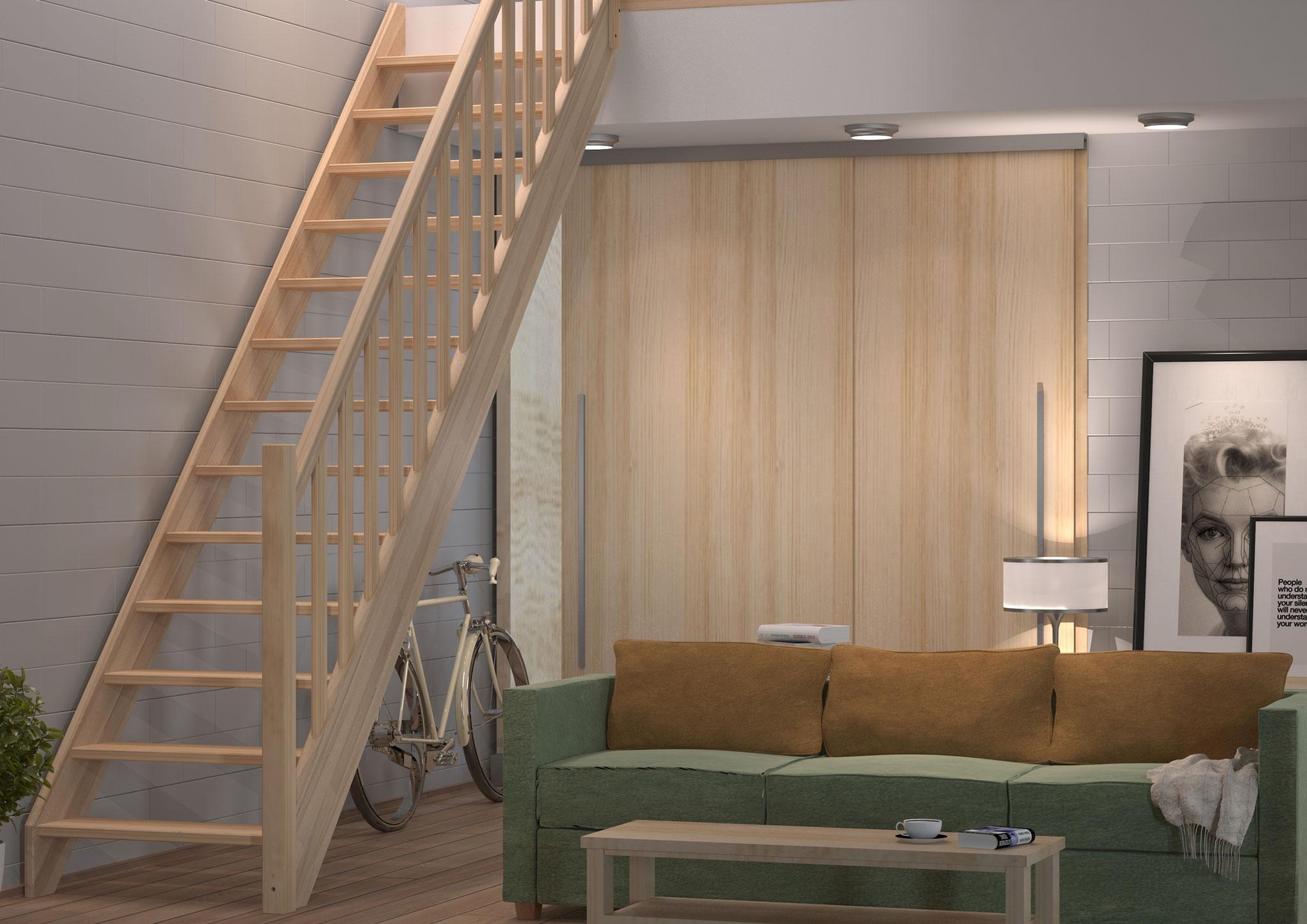 Savoie escalier droit rampe moulurée