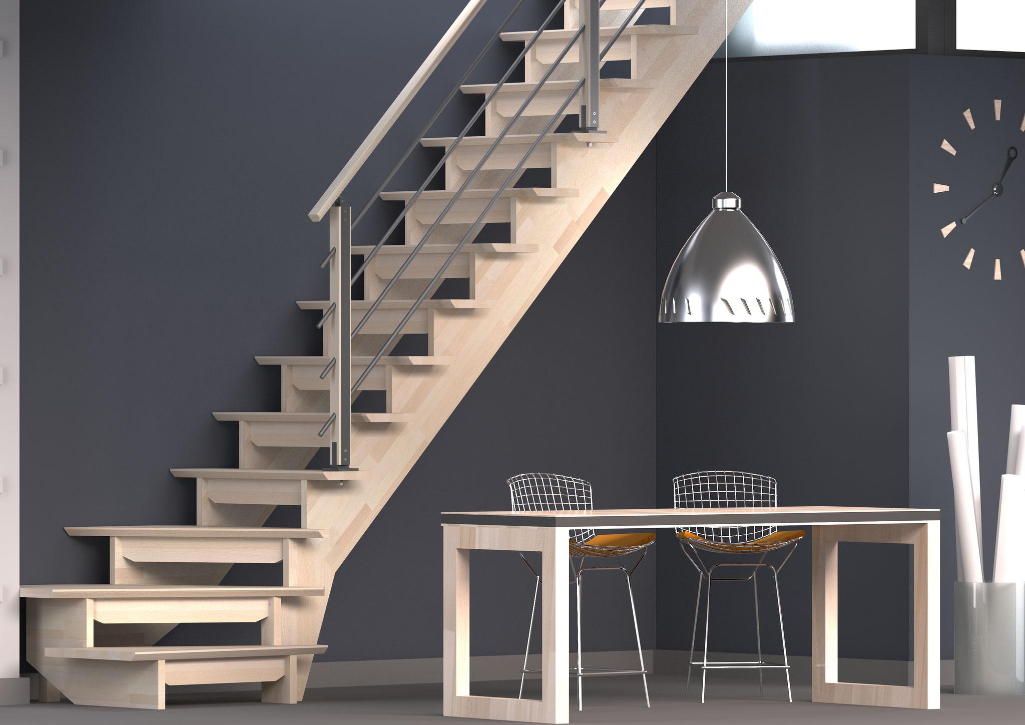 Bretagne escalier 1/4 tournant rampe H
