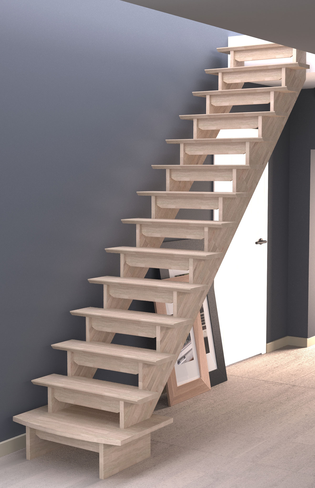 Auvergne escalier droit avec socle de départ