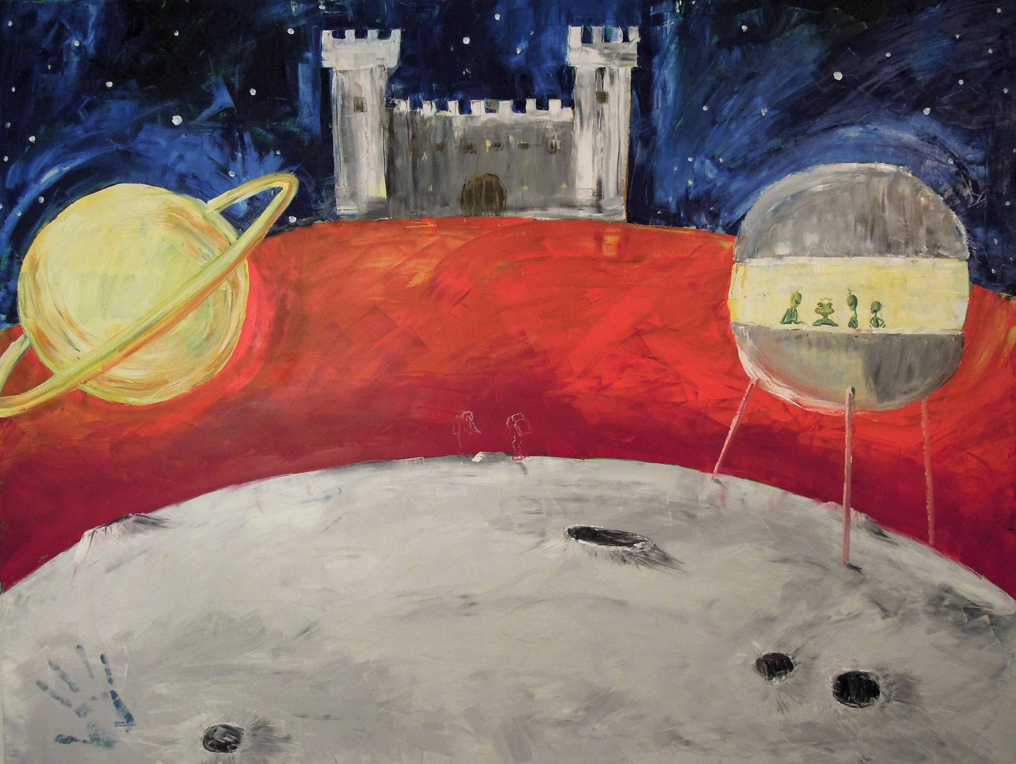 Ich bau dir ein Schloss auf dem Mars oder großer roter Froschkönig - Öl auf Leinwand 160 x 120 cm